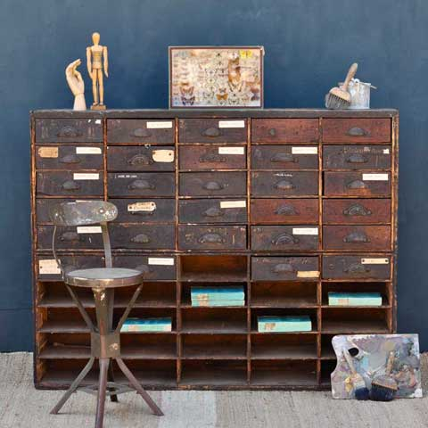 vintage hardware and haberdashers drawers