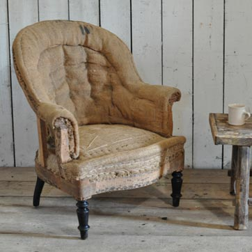 Home Barn Antique Deconstructed French Fireside Tub Chair Hessian seating