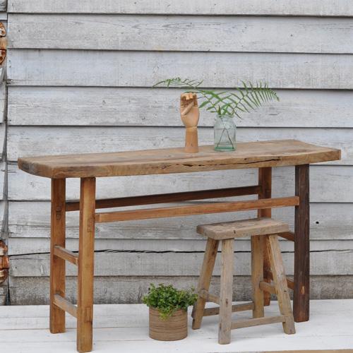 Antique Rustic Oak Console Table