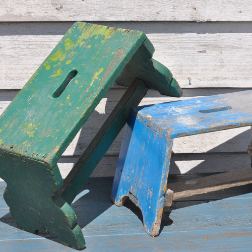 Vintage Wooden Step Stools With Distressed Paint Home