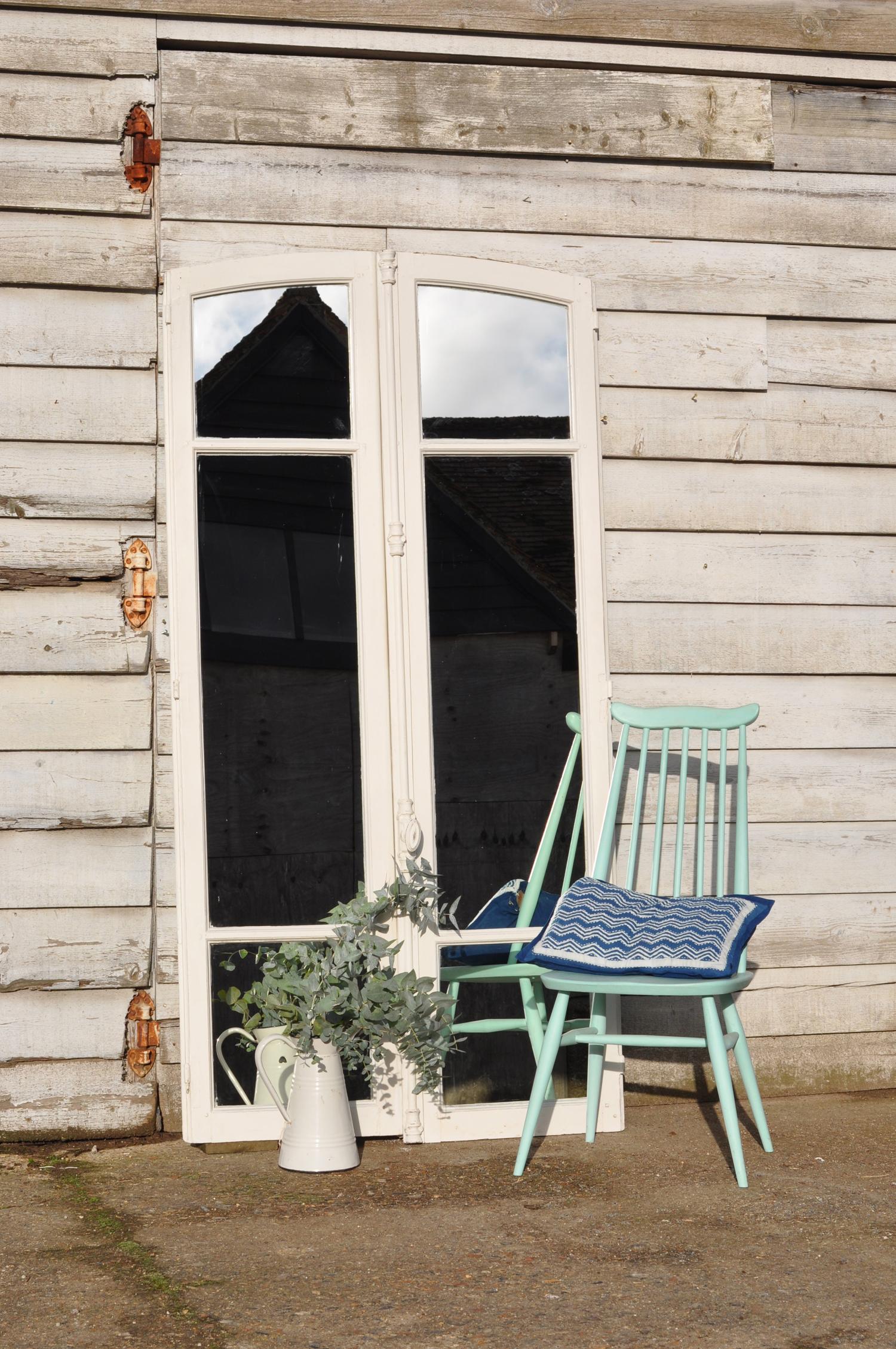 Reclaimed vintage french window mirror - Mirror in front of main door ...