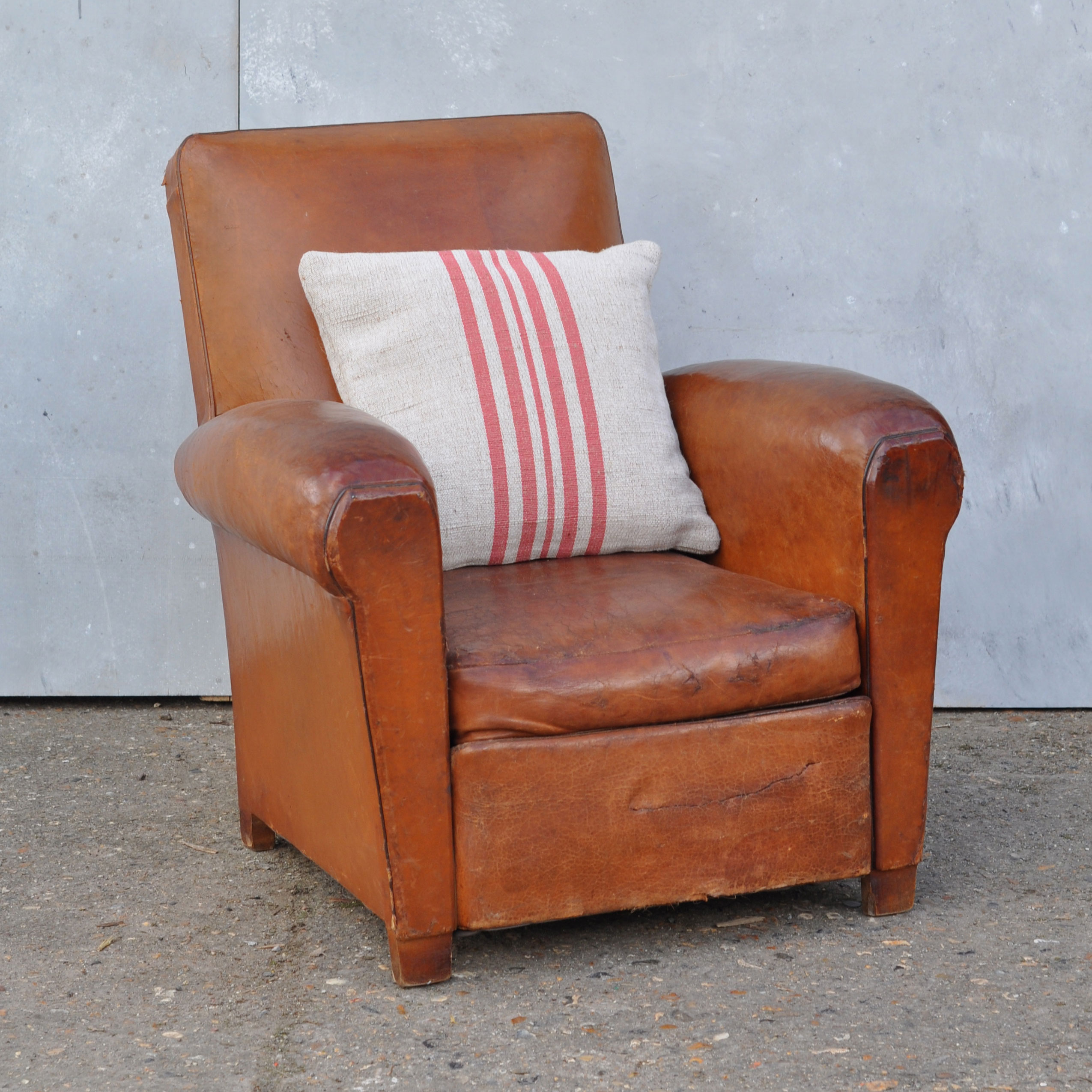 Antique French Leather Club Arm Chair Provence