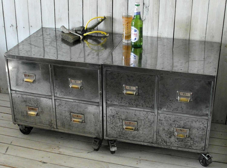 Pair of Vintage Industrial Steel Bedside Filing Cabinet - Home ...
