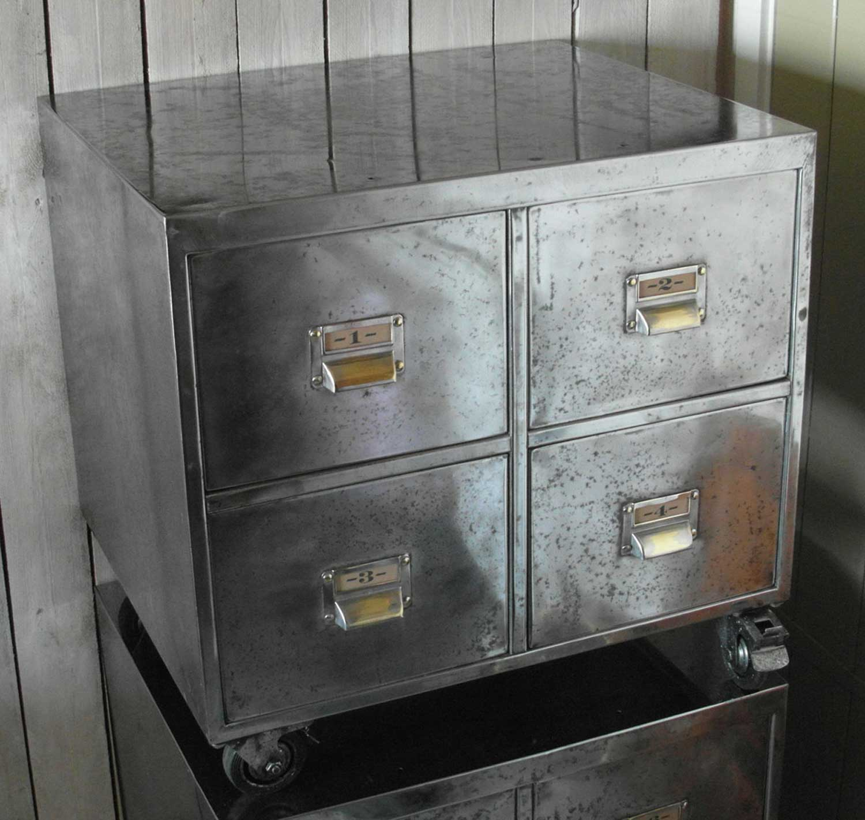 Pair Of Vintage Industrial Steel Bedside Filing Cabinet