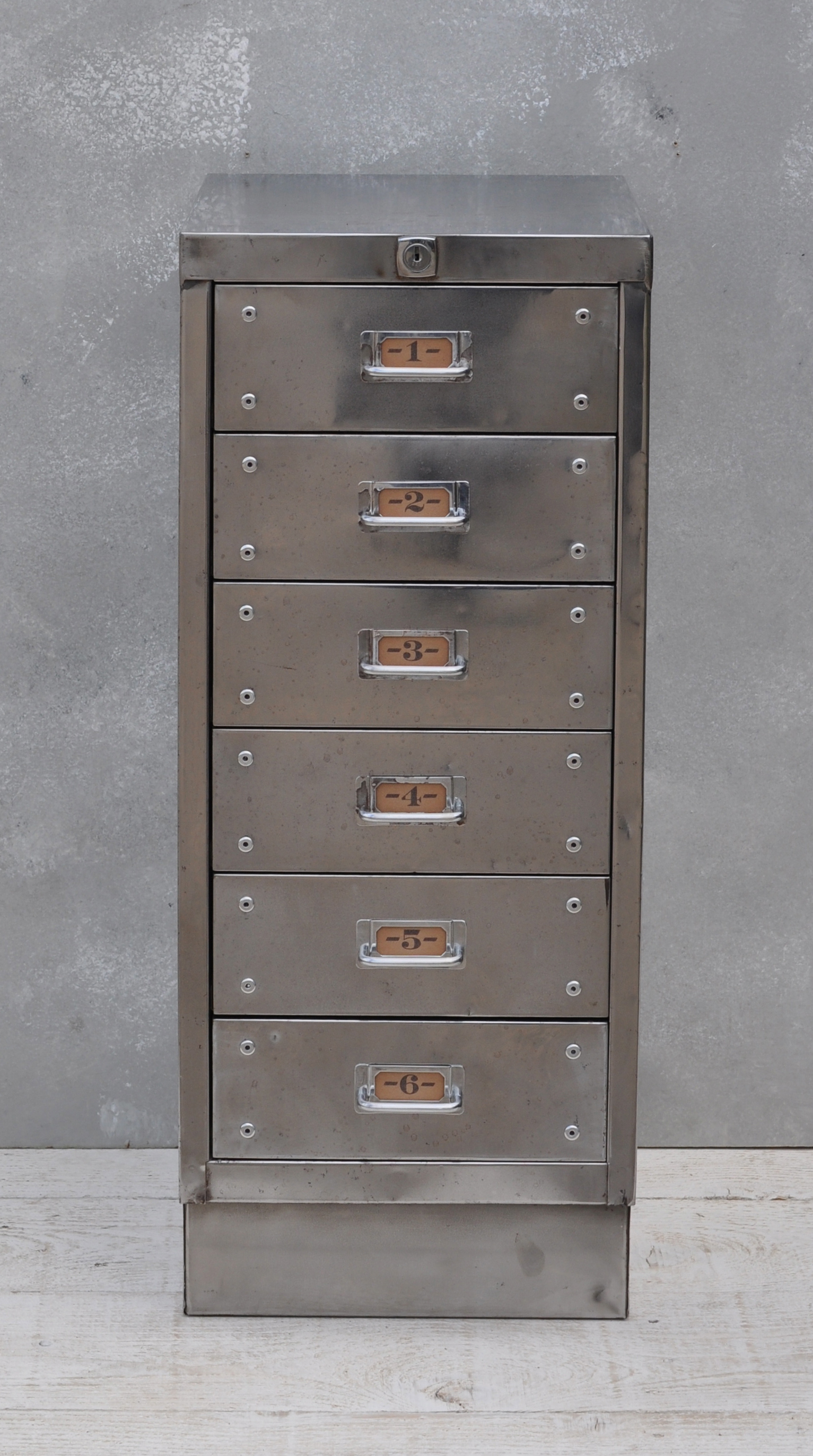 Vintage Industrial Steel Filing Cabinet 6 Drawer