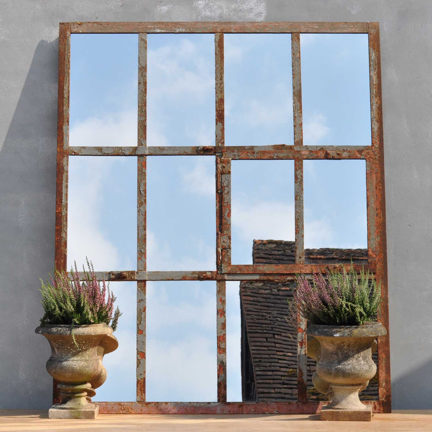 Industrial Cast Iron Warehouse Window Mirror Oblong