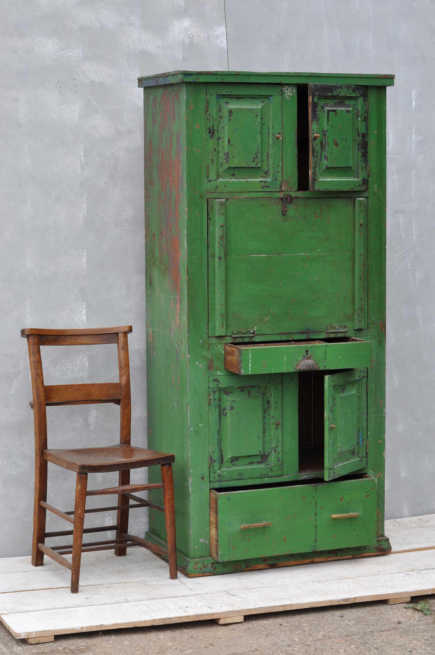 rustic vintage bureau tall cabinet original green paintwork. Black Bedroom Furniture Sets. Home Design Ideas