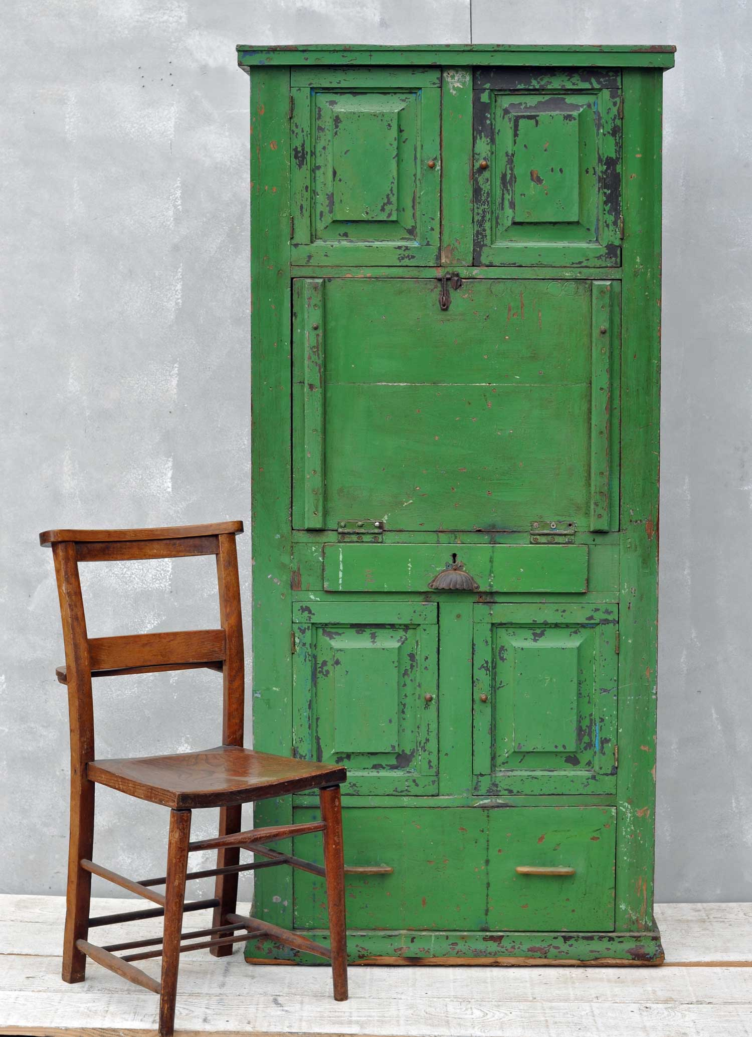 rustic vintage bureau tall cabinet original green paintwork. Black Bedroom Furniture Sets. Home Design Ideas