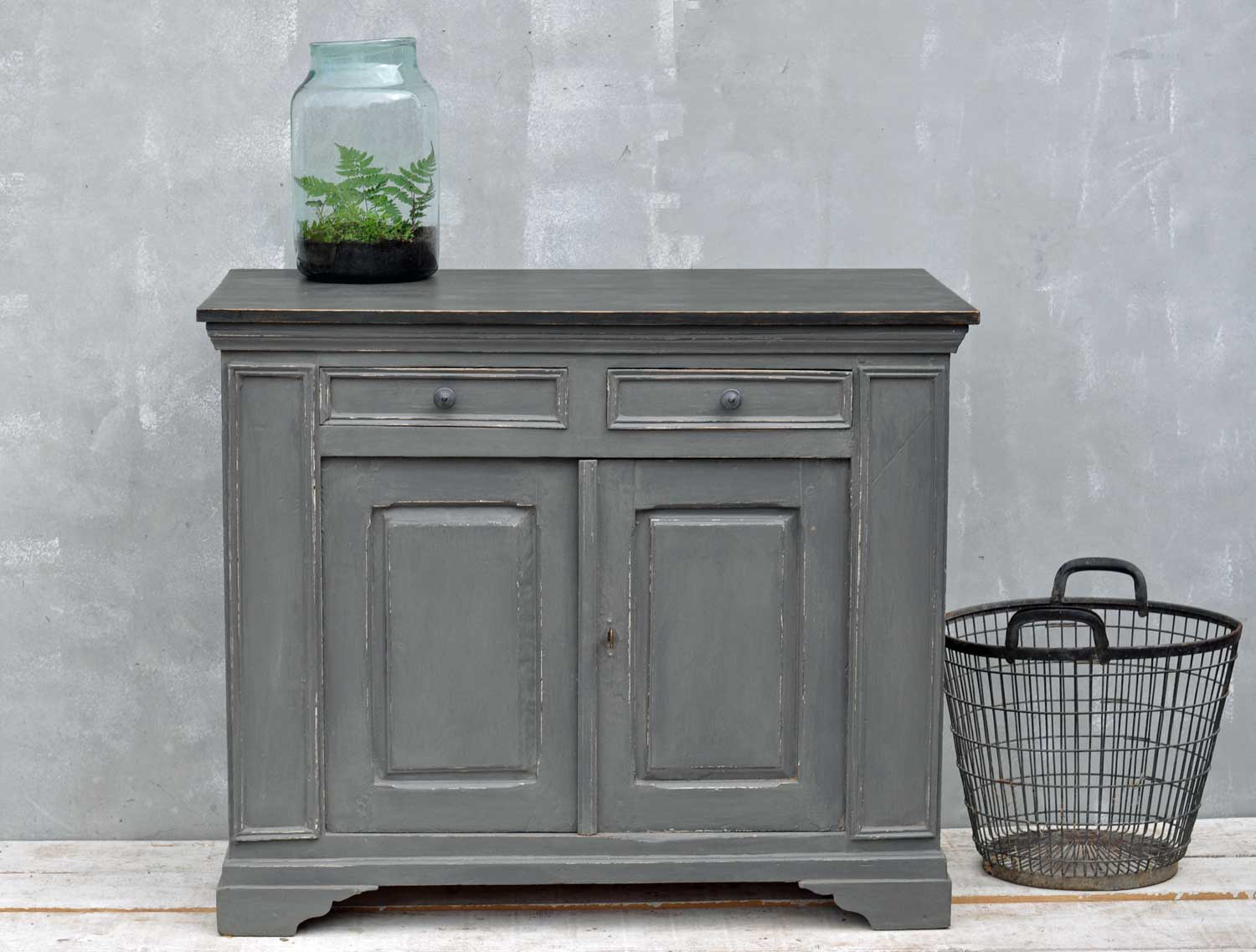Vintage French Cupboard Grey Hand Painted Cabinet