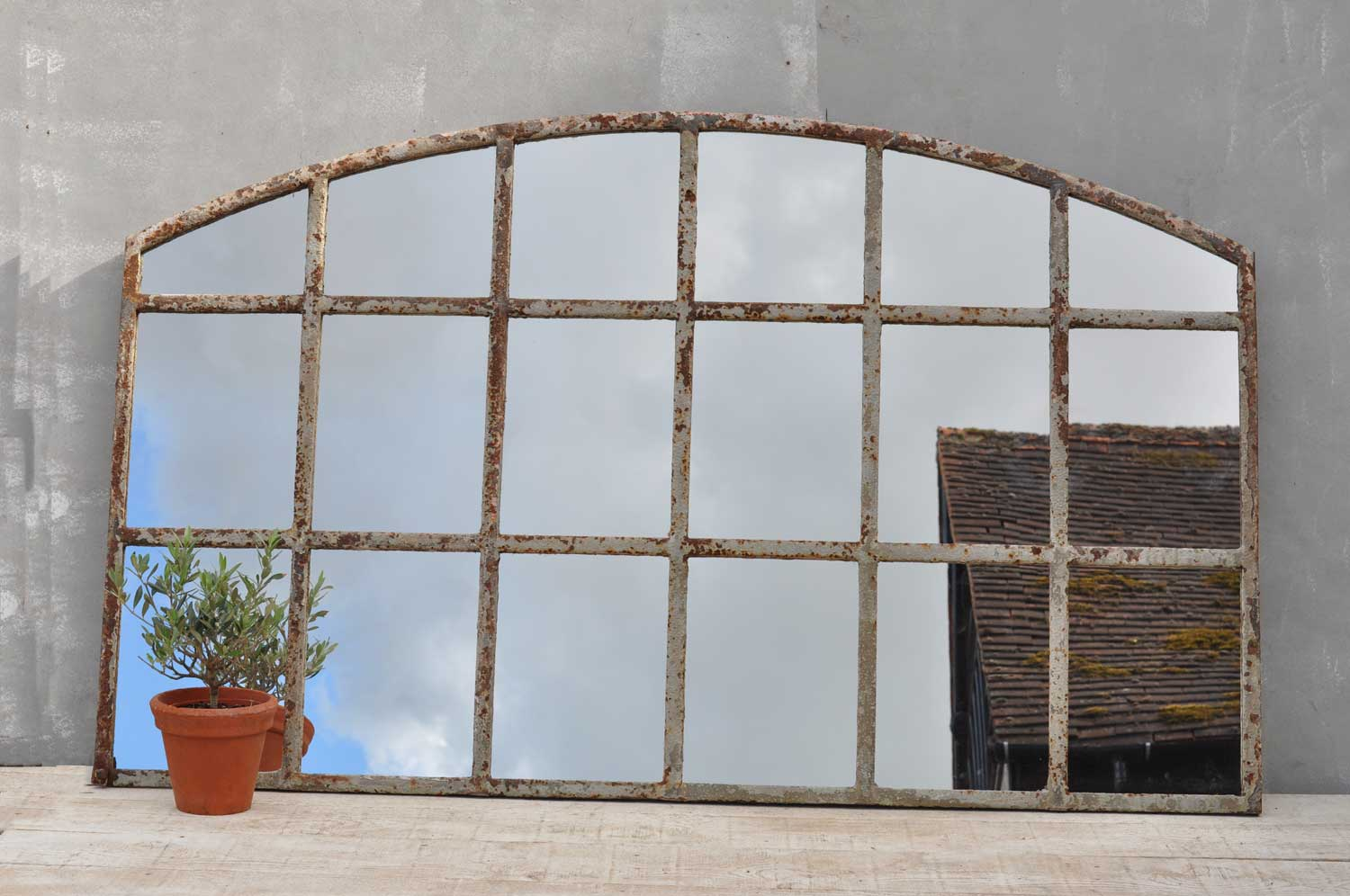 Industrial warehouse large cast iron arched window mirror for Window mirror