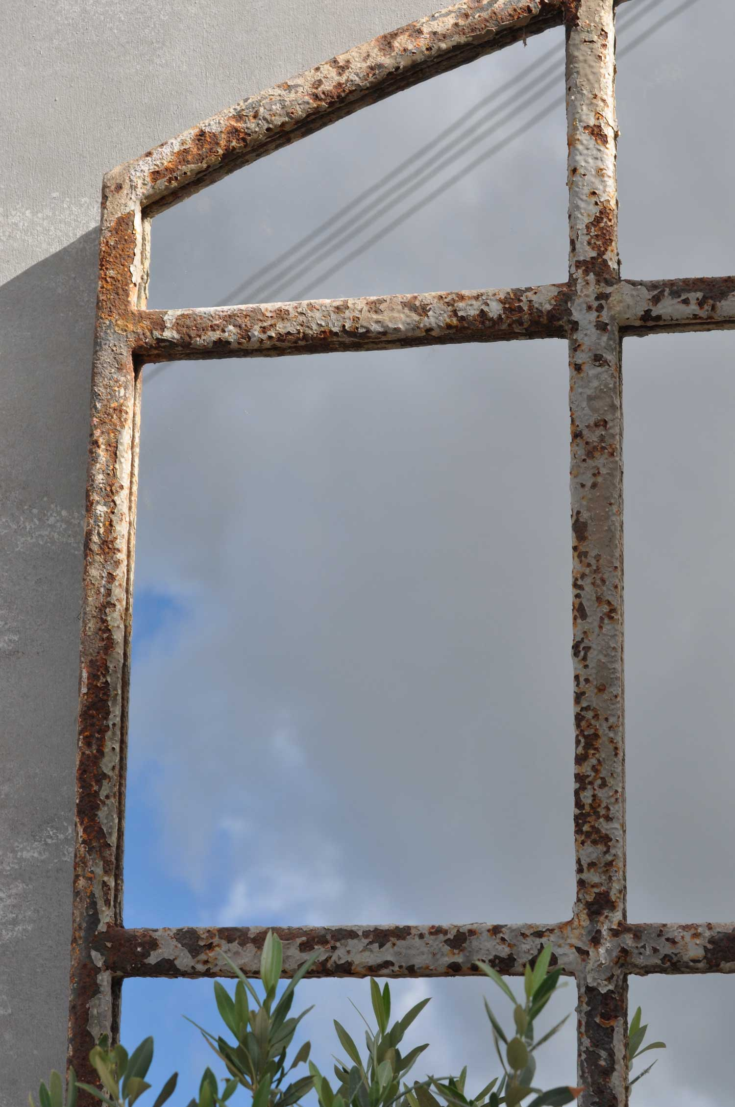 Industrial Warehouse Large Cast Iron Arched Window Mirror