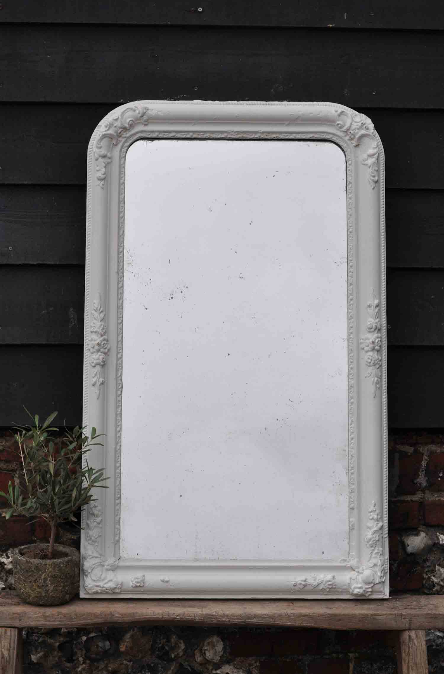 Late 1800 39 s antique french ornate corners mirror in white for Antique french mirror