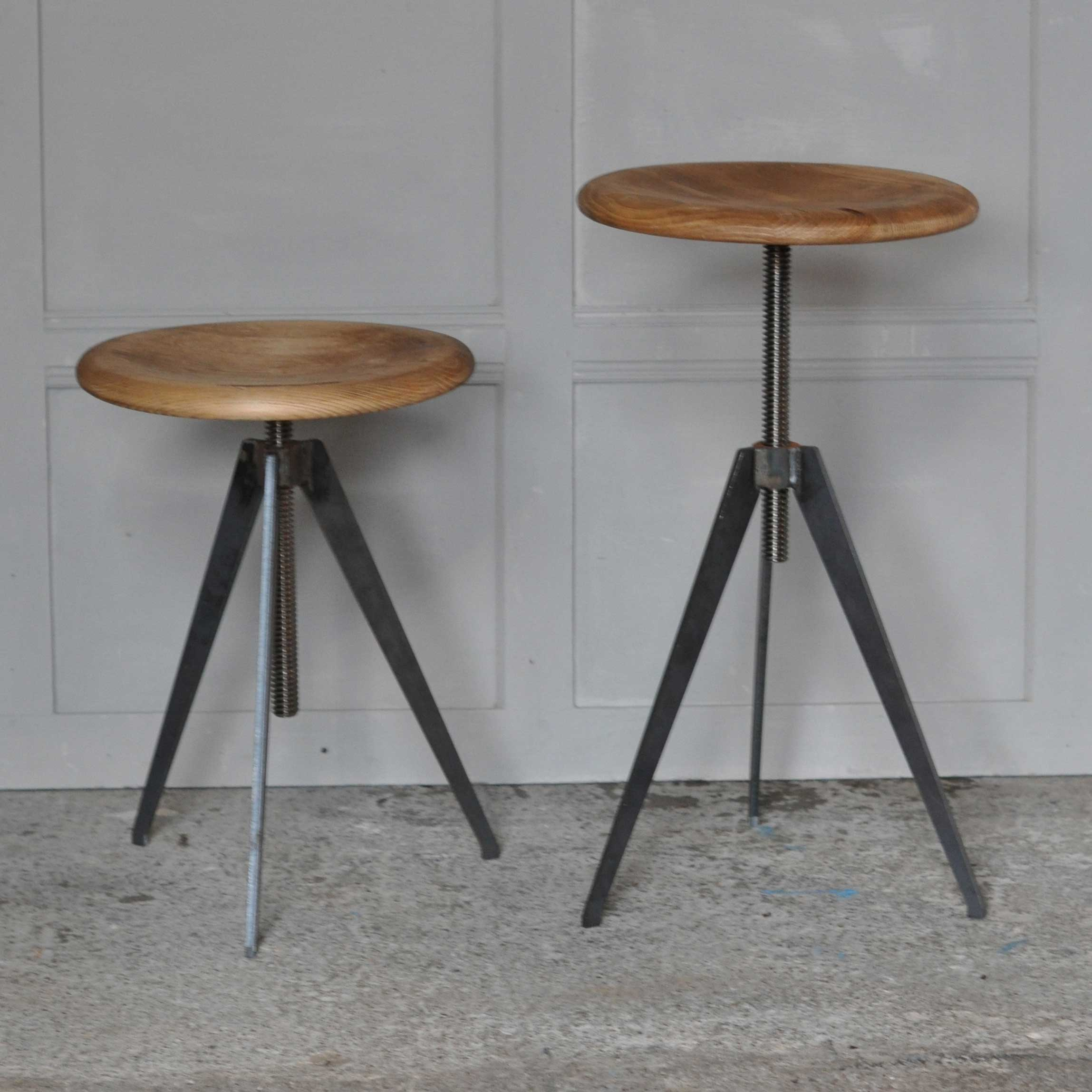 stool with wooden top with adjustable screw mechanism - industrial stool with wooden top with adjustable screw mechanism