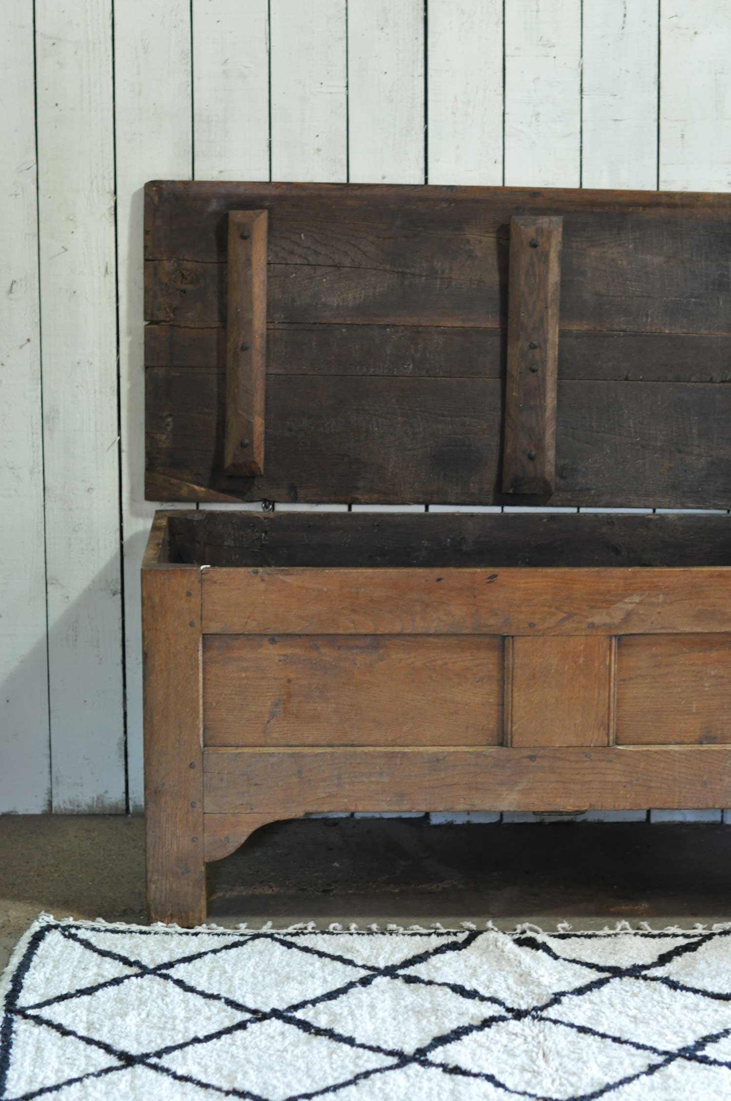 Antique Solid Oak Coffer Blanket Box Chest Trunk Home