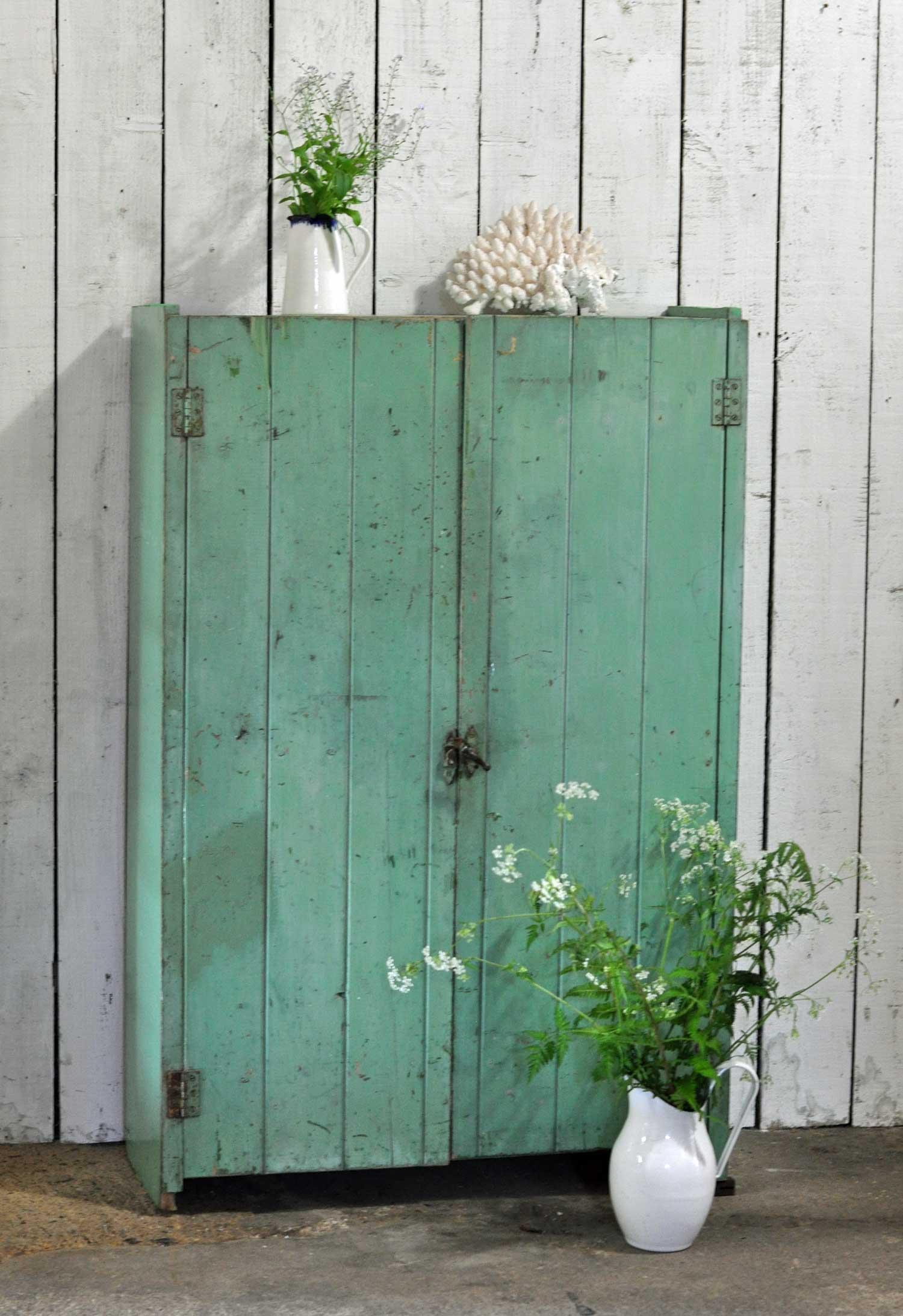 Slim Tongue And Groove Antique Victorian Two Door Cupboard