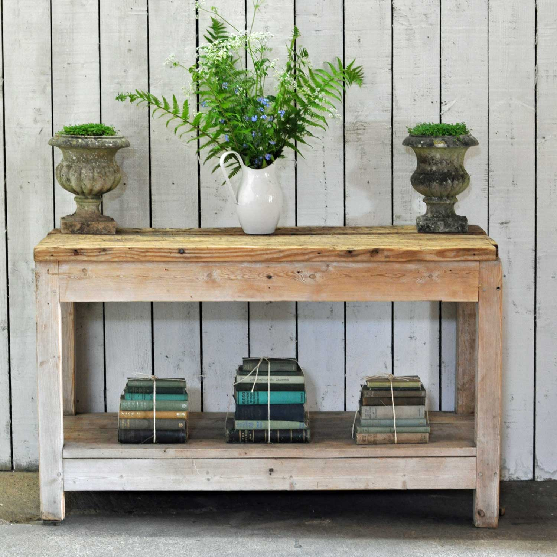Scrubbed Pine Vintage Kitchen Island Console Work Bench Home