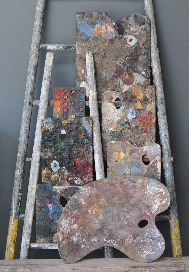 Antique Artist Palettes Collection Art Installation