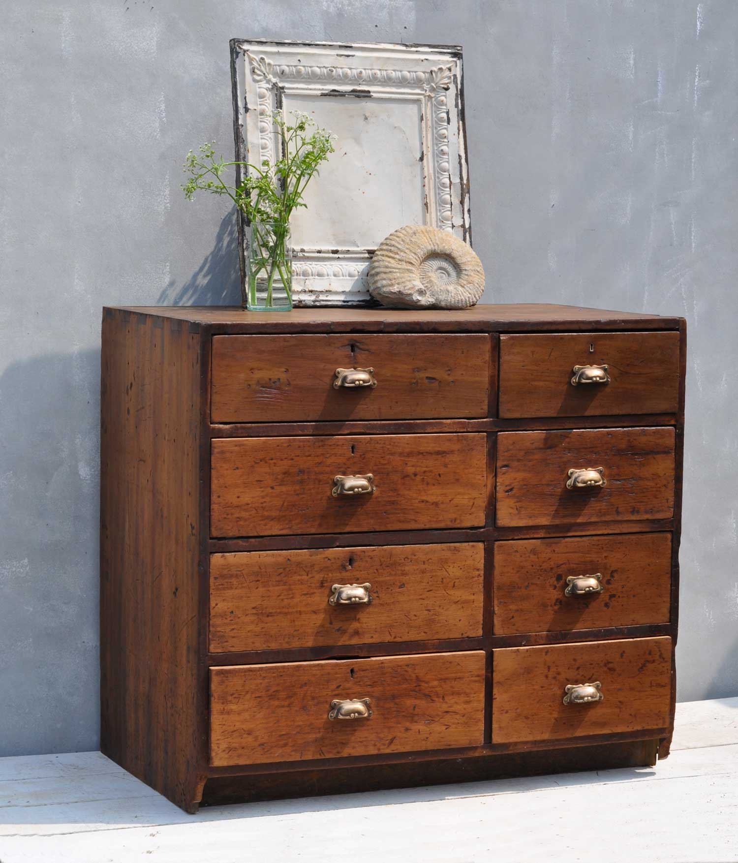 Antique Bank Tellers Chest Of Drawers Home Barn Vintage