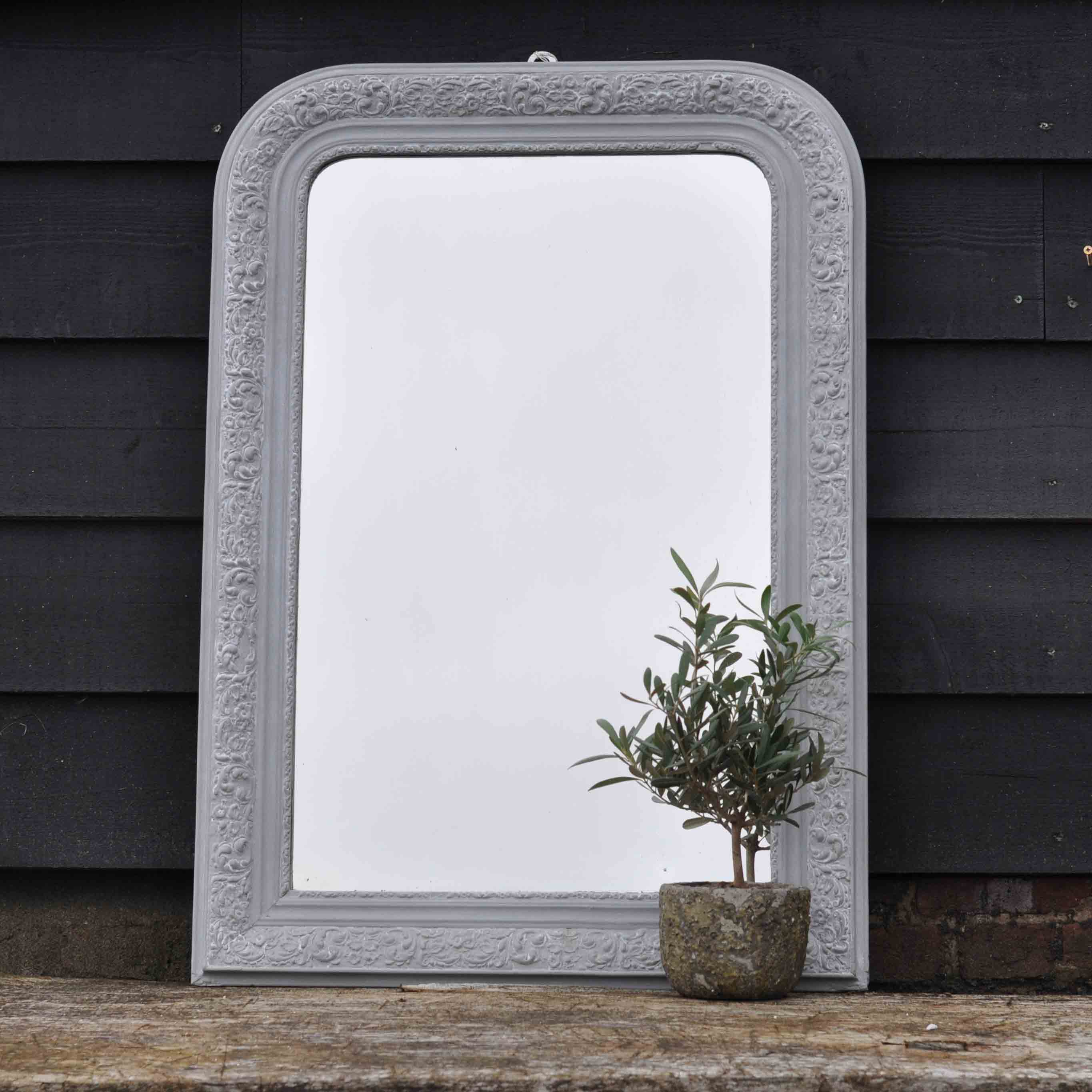Antique french ornate mirror hand painted in grey home for Ornate mirror