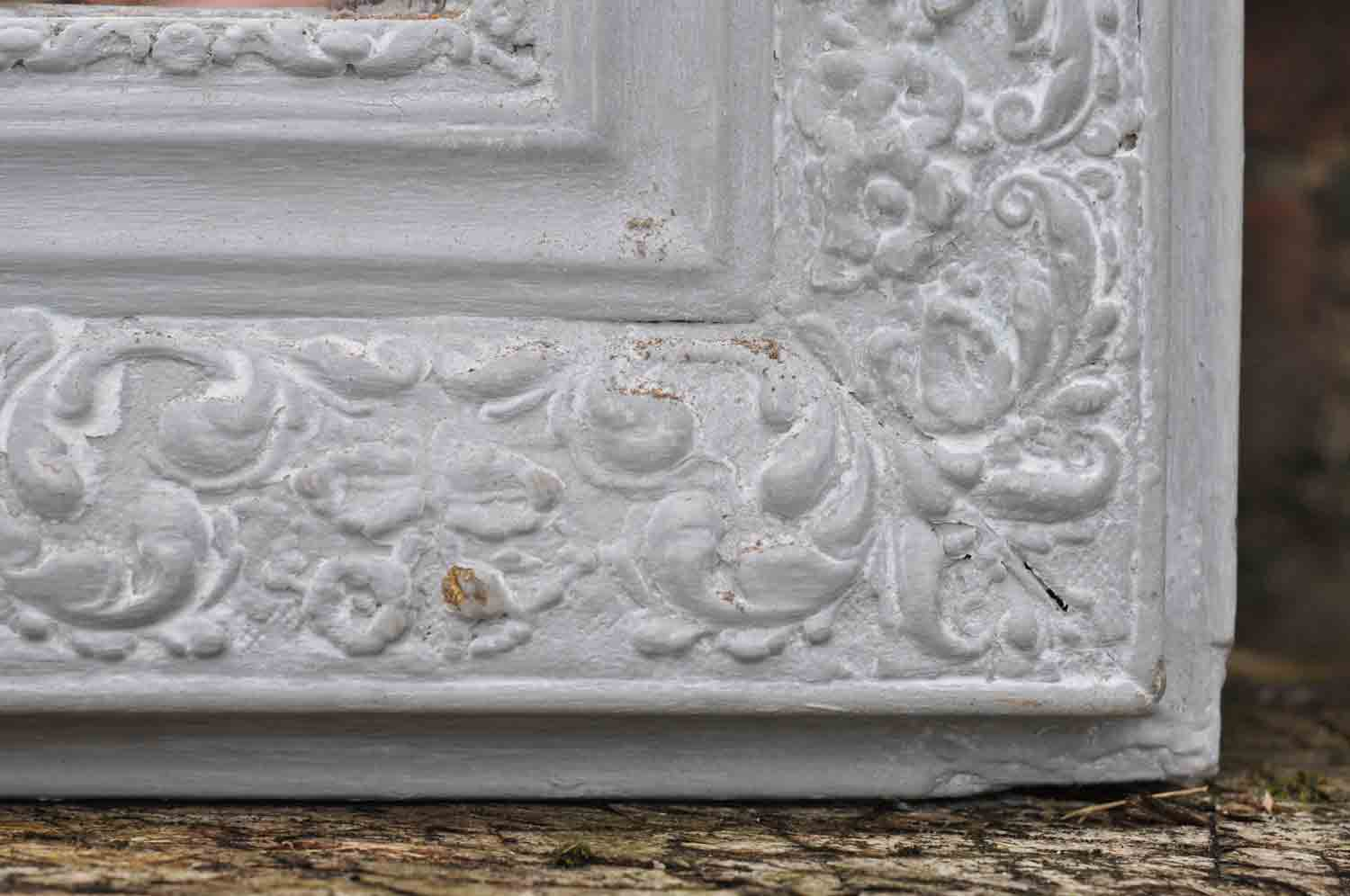 Antique french ornate mirror hand painted in grey home for Antique french mirror