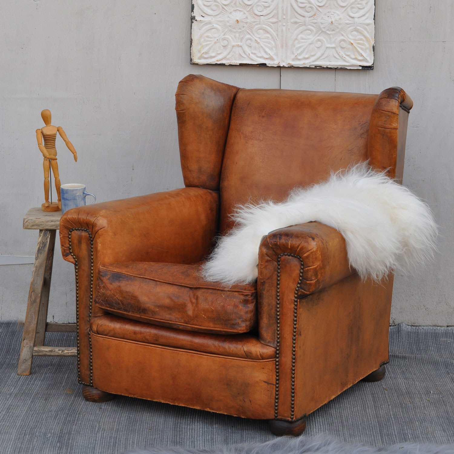 Antique French Leather Wing Back Club Arm Chair - Home ...