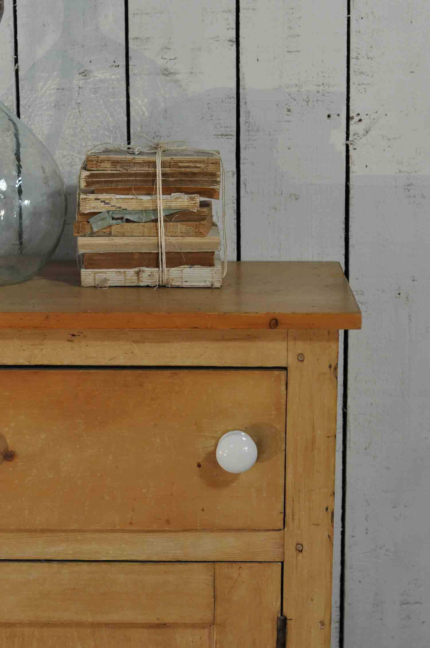Antique Pine School Cabinet Two Drawers Over Two Cupboard