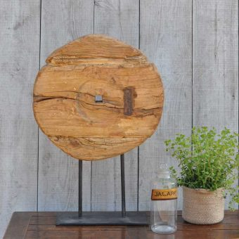 Antique Rustic Timber Large Pulley Artwork On Stand