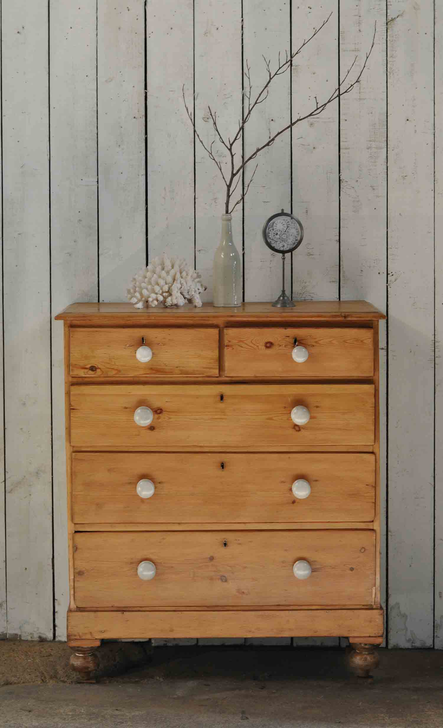 Excellent Antique Pine Chest of Drawers Linen Storage - Home Barn Vintage ZH39
