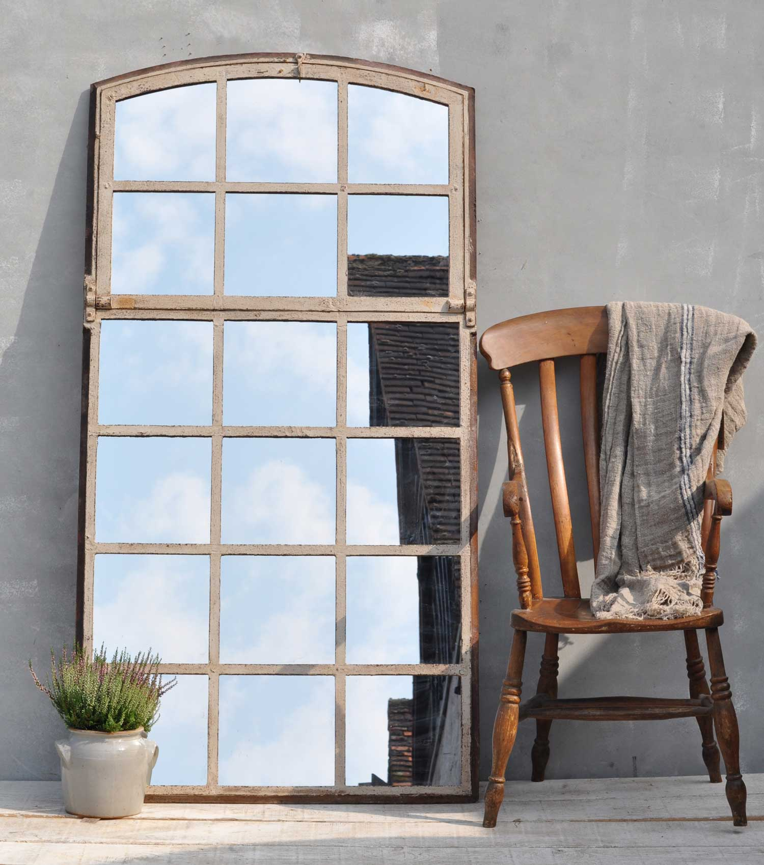 Arched industrial cast iron warehouse window mirror home for Industrial windows for homes