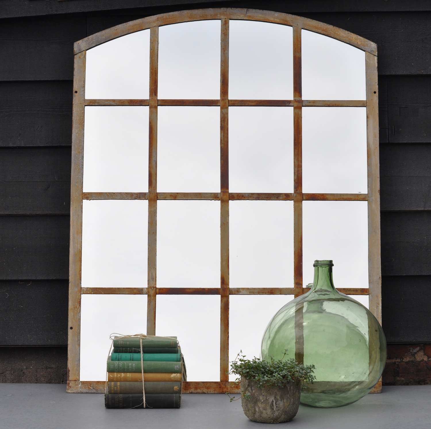 Arched Industrial Cast Iron Warehouse Window Mirror