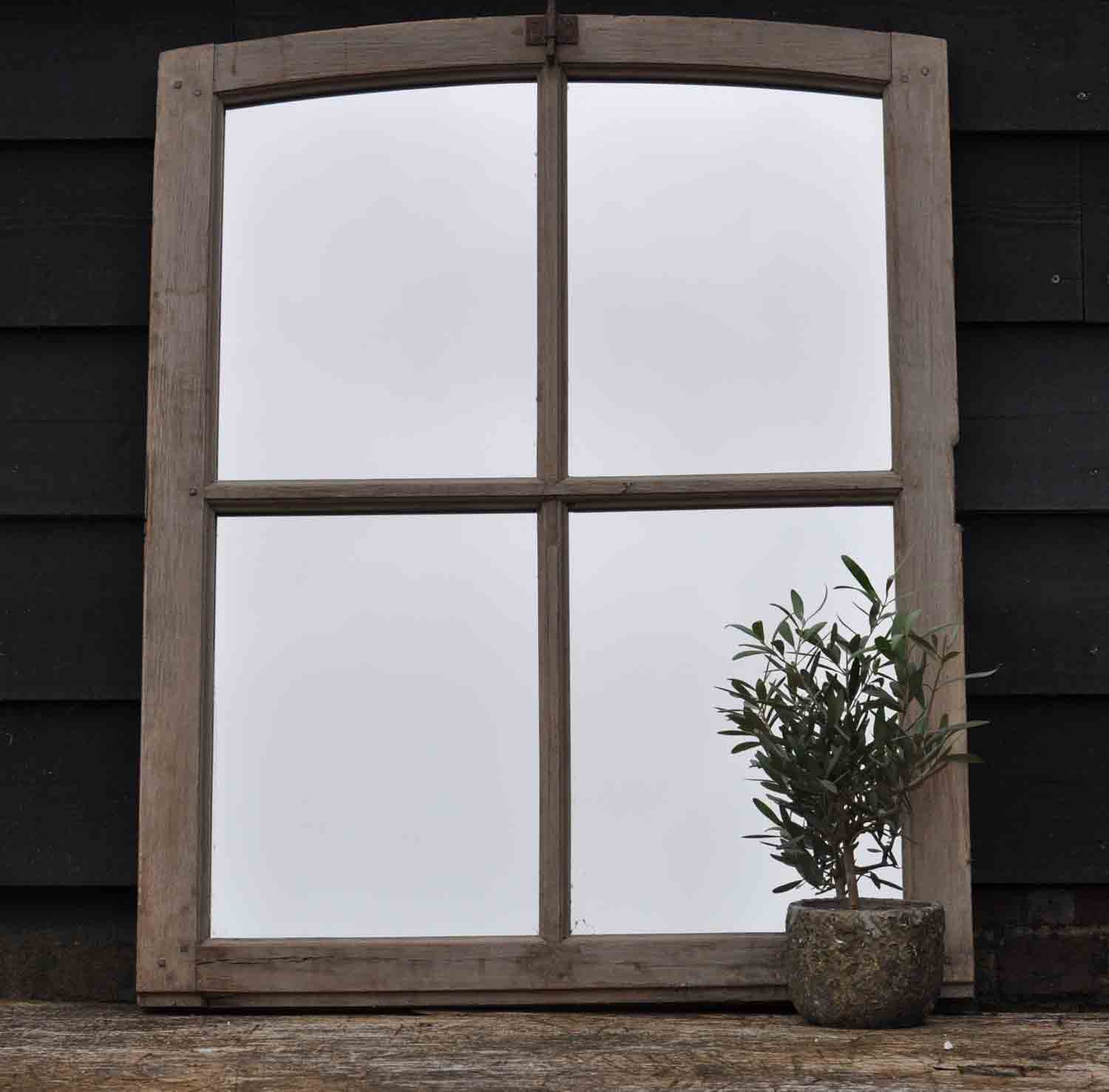 Arched Topped Industrial Timber Vintage Window Mirror
