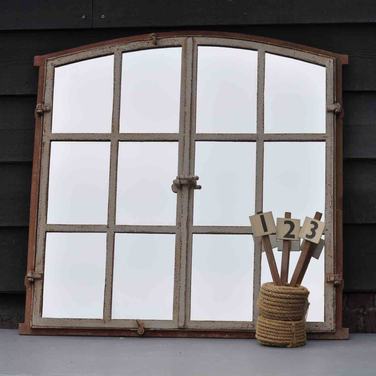 Cast Iron Industrial Reclaimed Window Mirror Home Barn