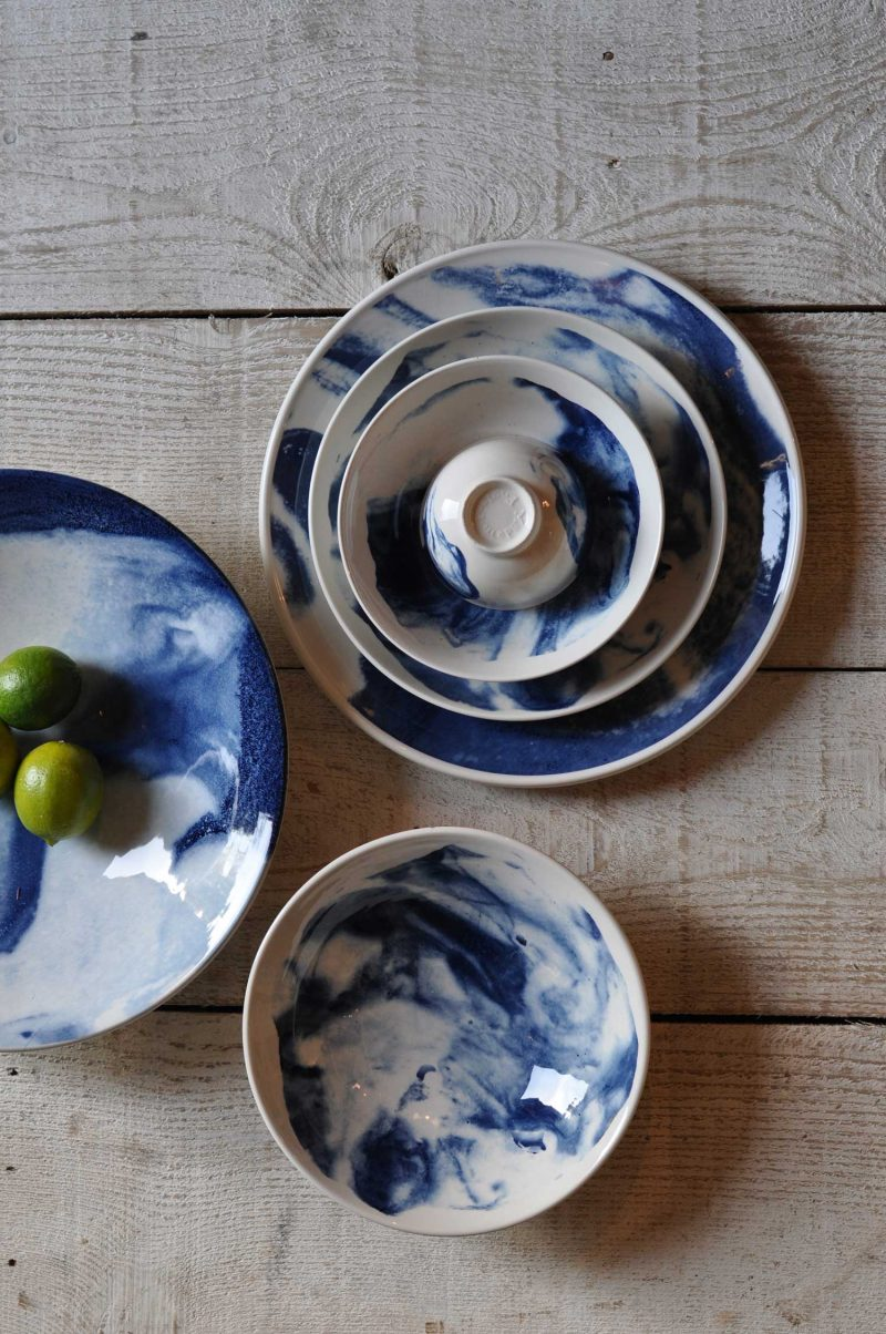 Ceramic Indigo Storm Marbled Platter Plate Bowl Collection