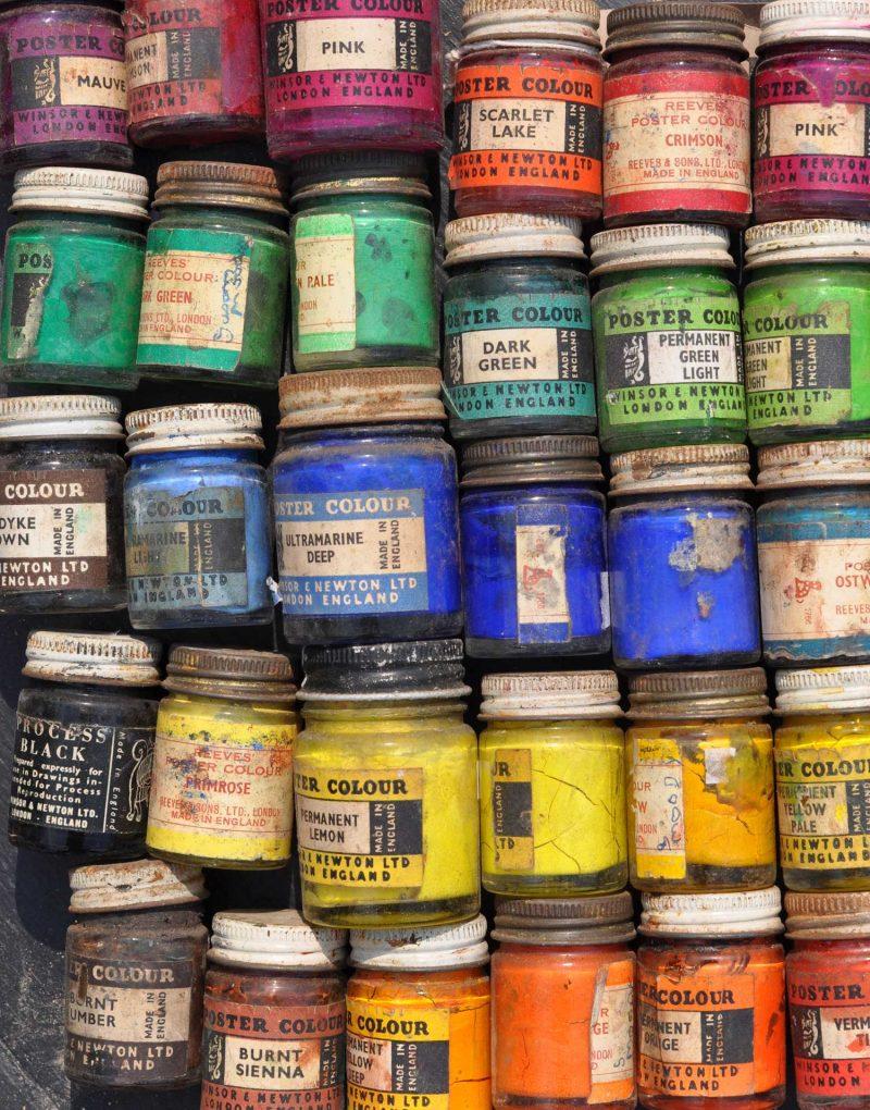 Collection Of Five Vintage Paint Pots