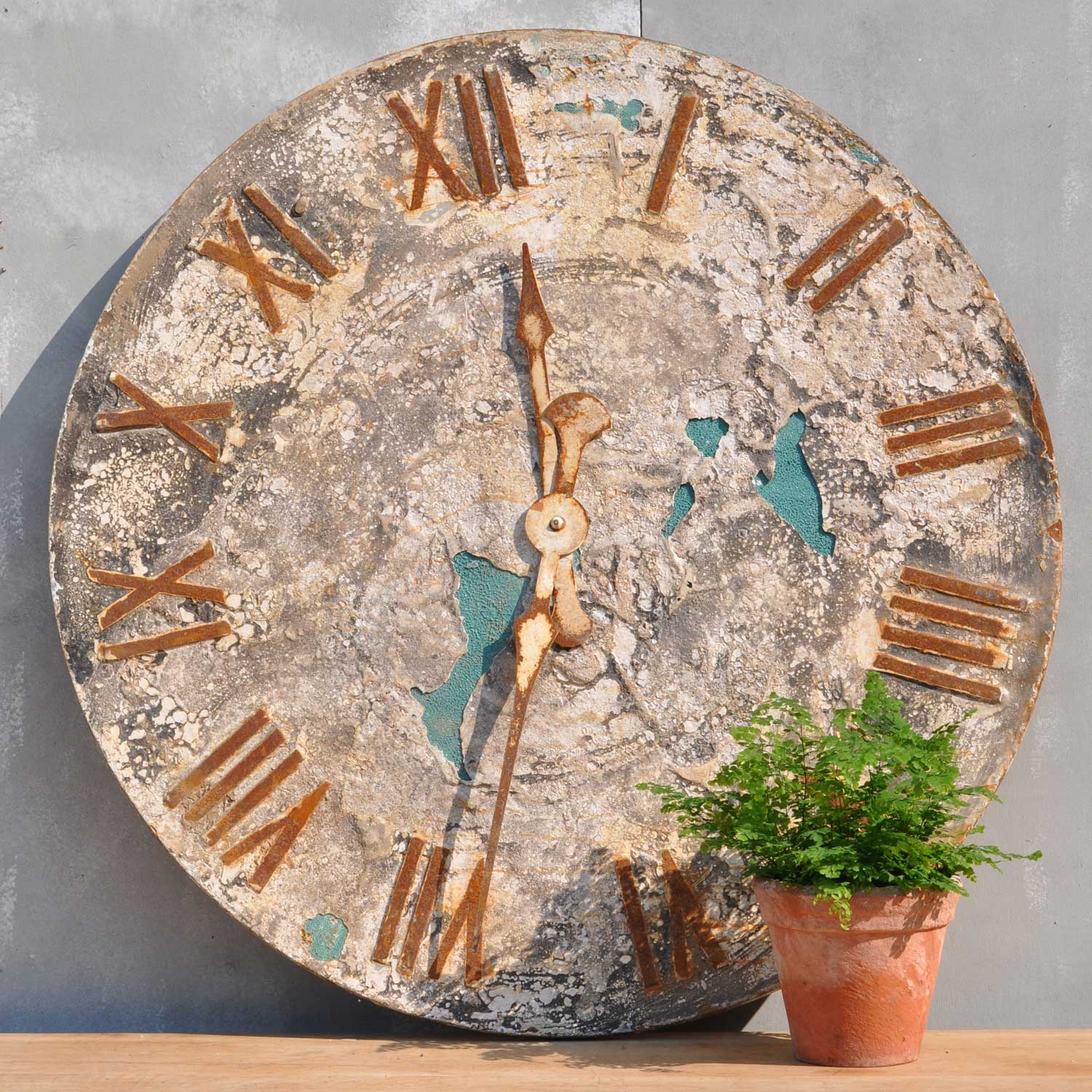Decorative folk art style rustic clock face artwork home for Decorative things