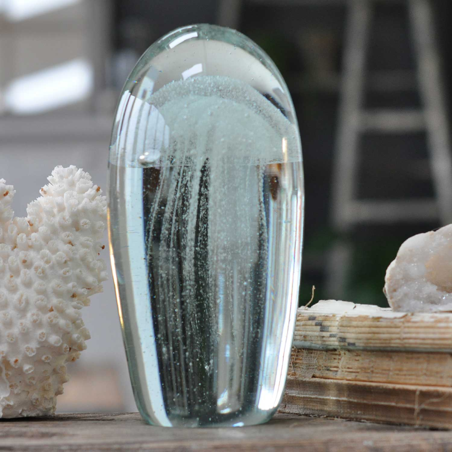 Decorative Glass Jellyfish Captured In Glass Dome Large Clear