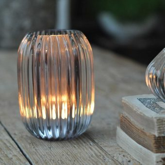 Glass Ribbed Candle Holder Large