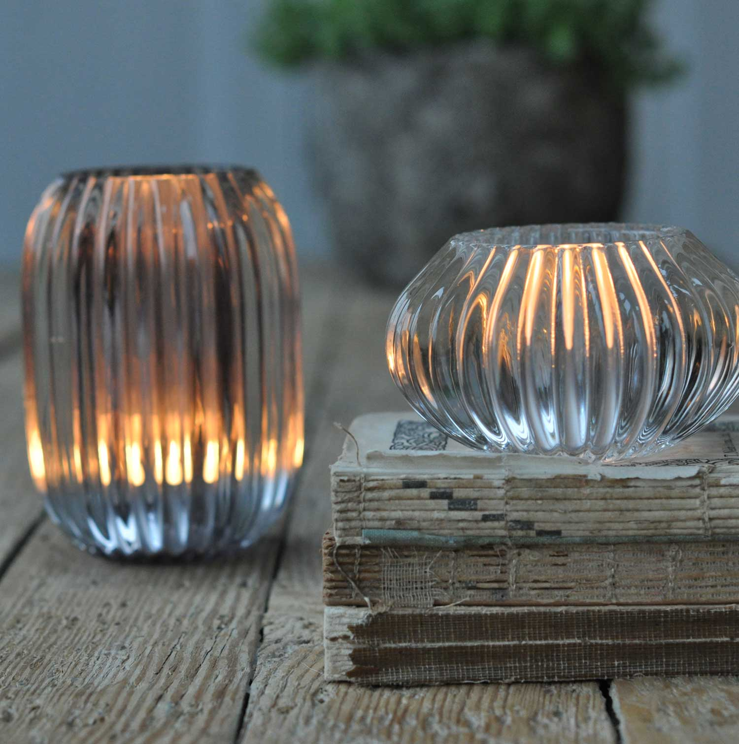 Glass Ribbed Candle Holder Large Grey Home Barn