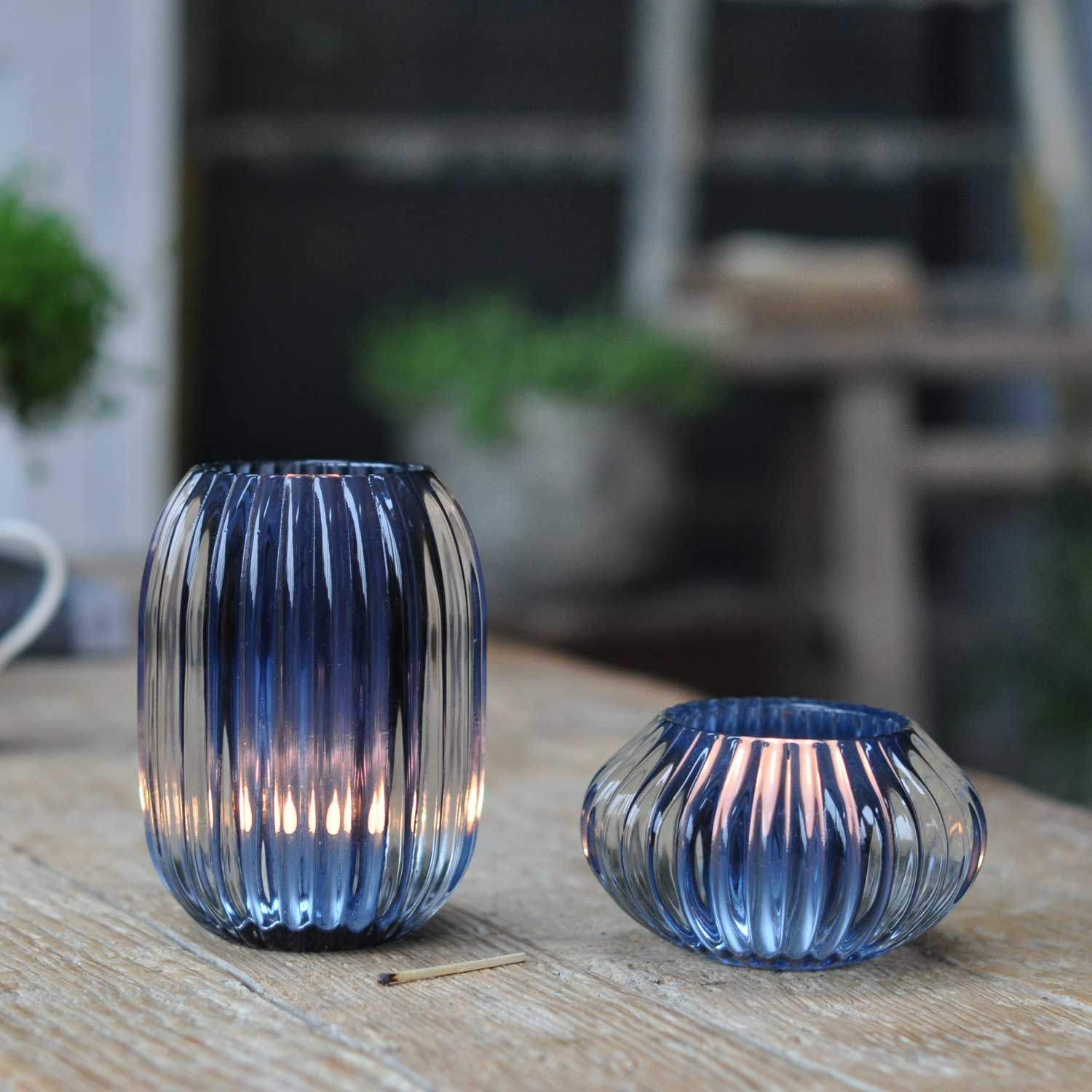 Glass Ribbed Candle Candle Holder Large Blue Home Barn Vintage