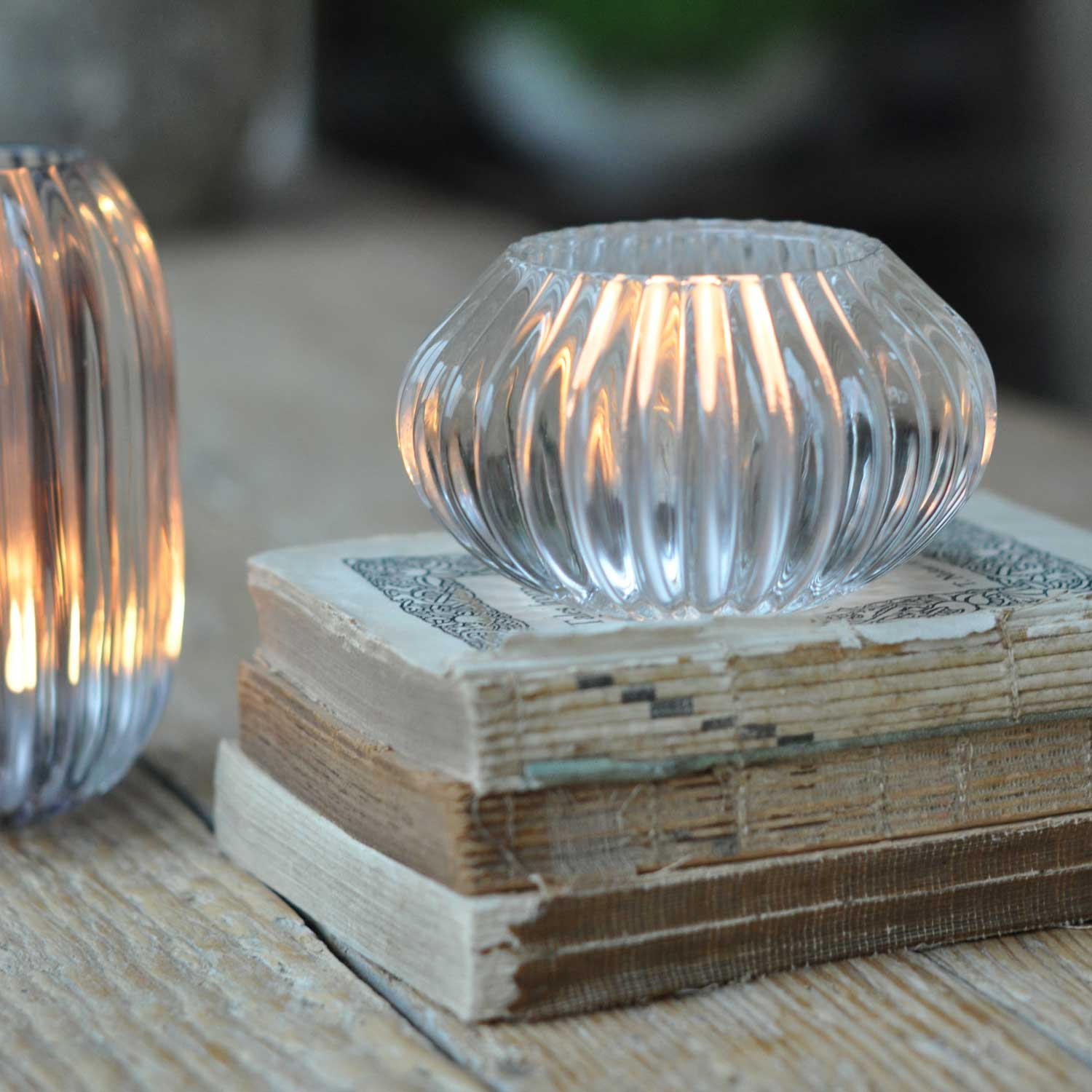 Glass Ribbed Candle Candle Holder Small Clear Home Barn
