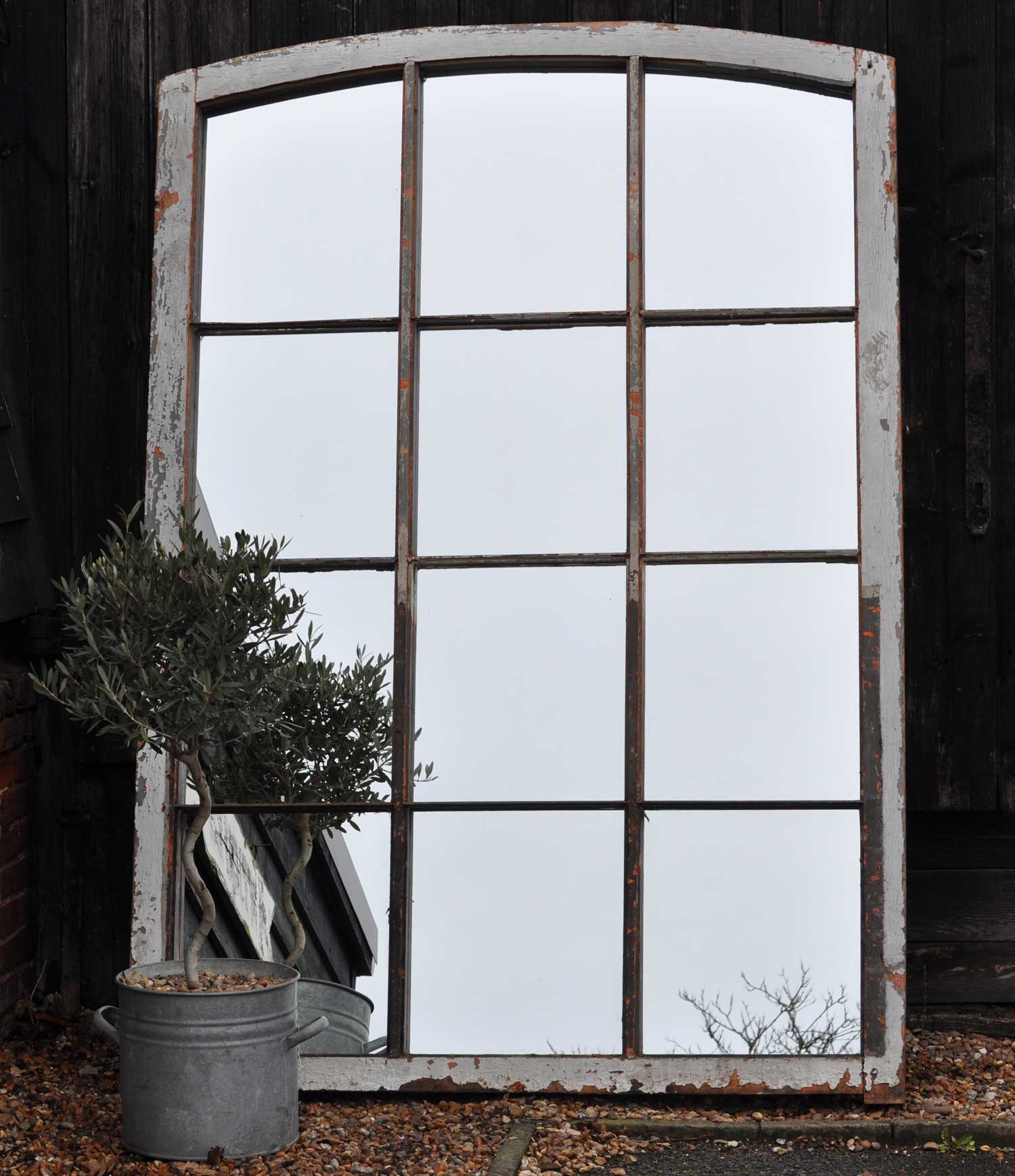 Grand Antique Architectural Salvage Window Mirror Iron And