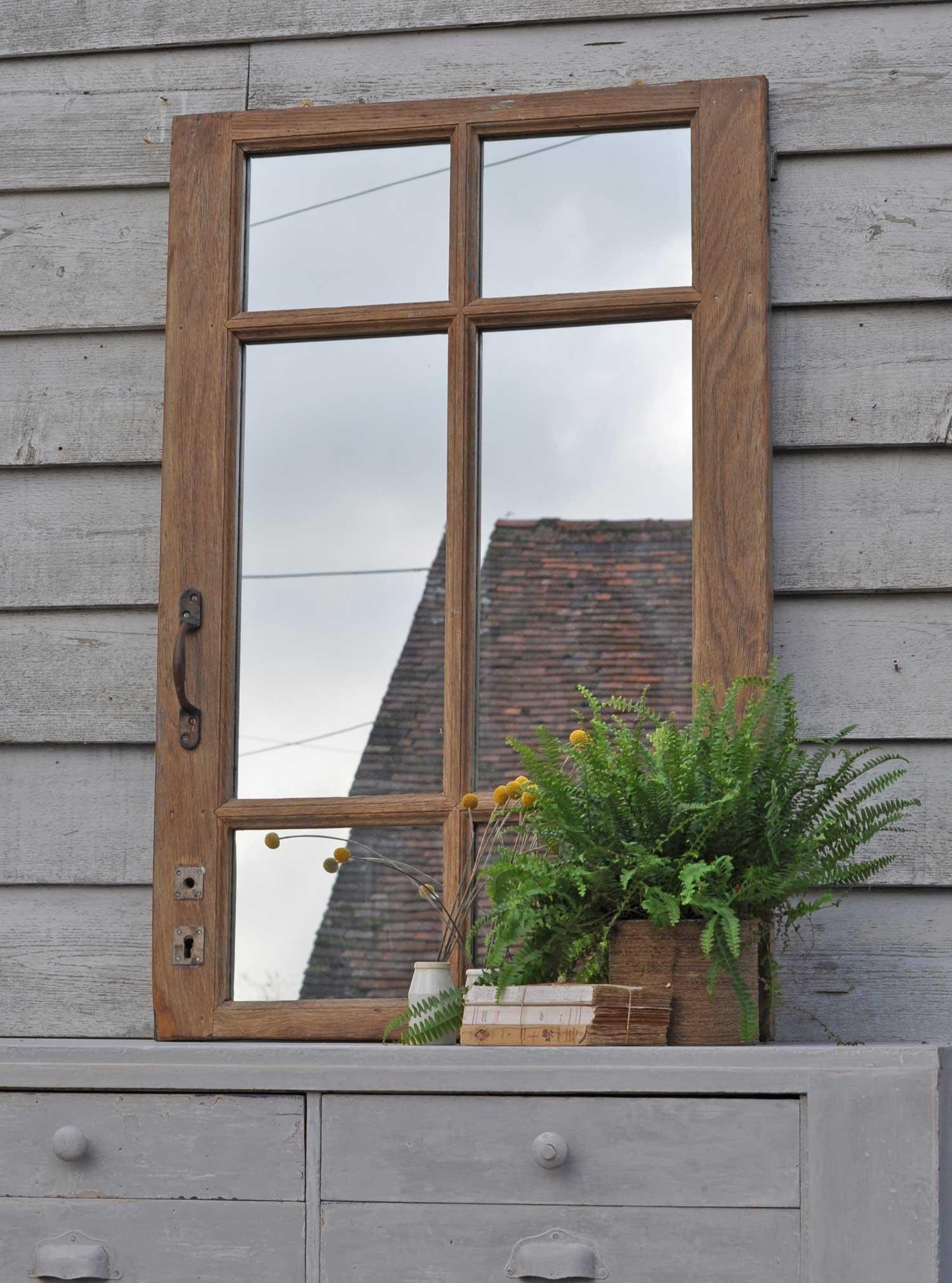Reclaimed Vintage Oak Window Mirror Home Barn Vintage