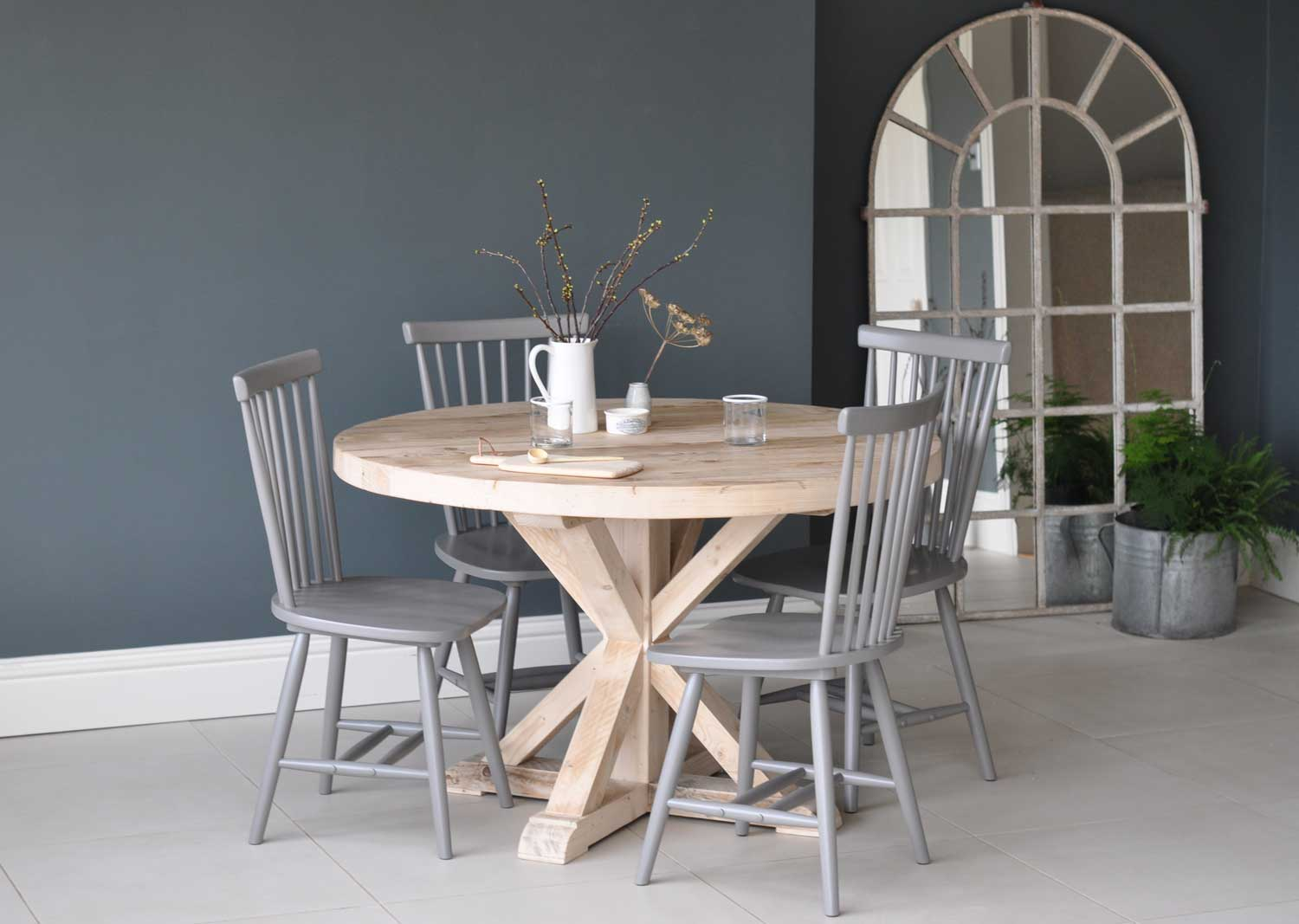Circular Reclaimed Wood Round Dining Table Home Barn Vintage