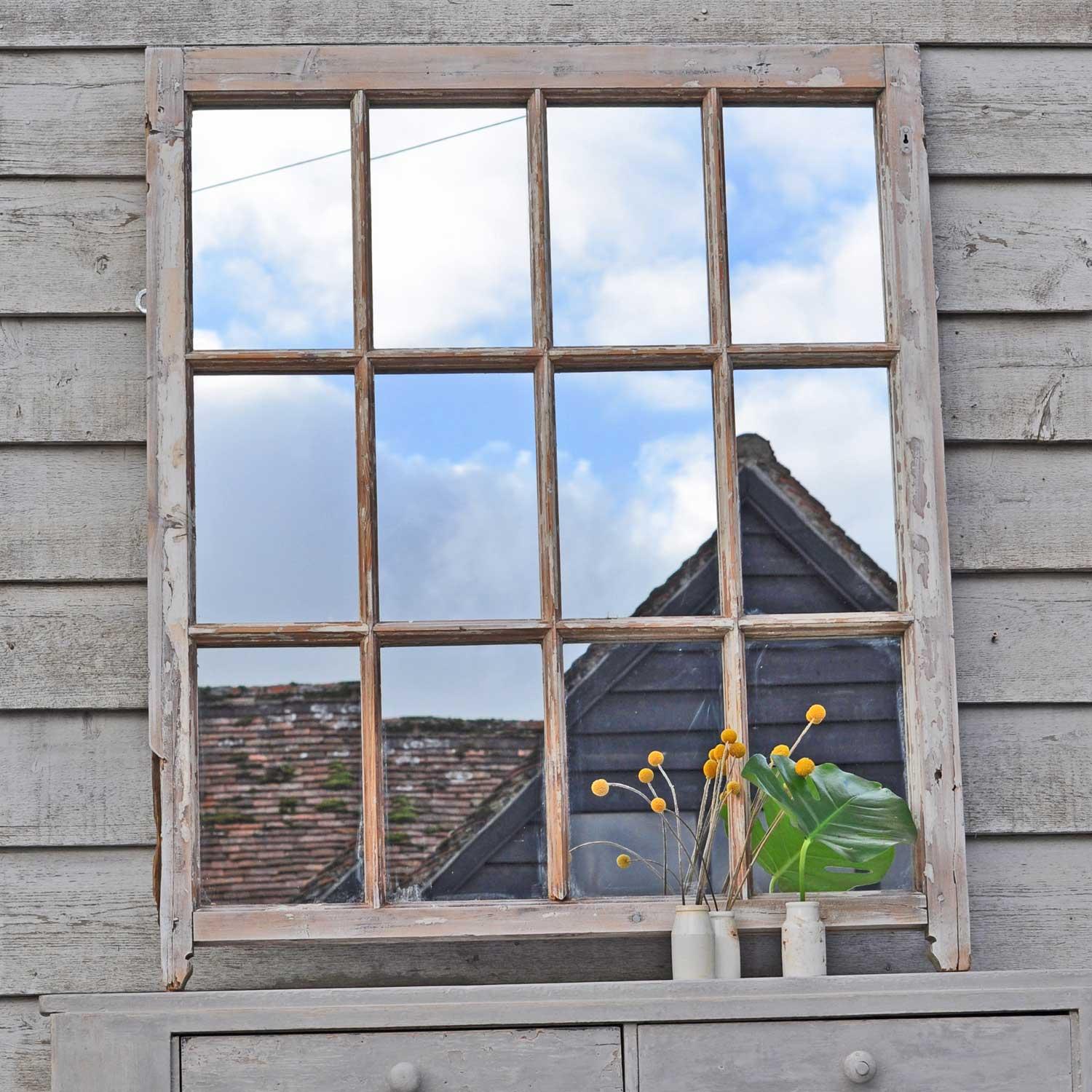 Reclaimed vintage distressed paint window mirror home for Window mirror