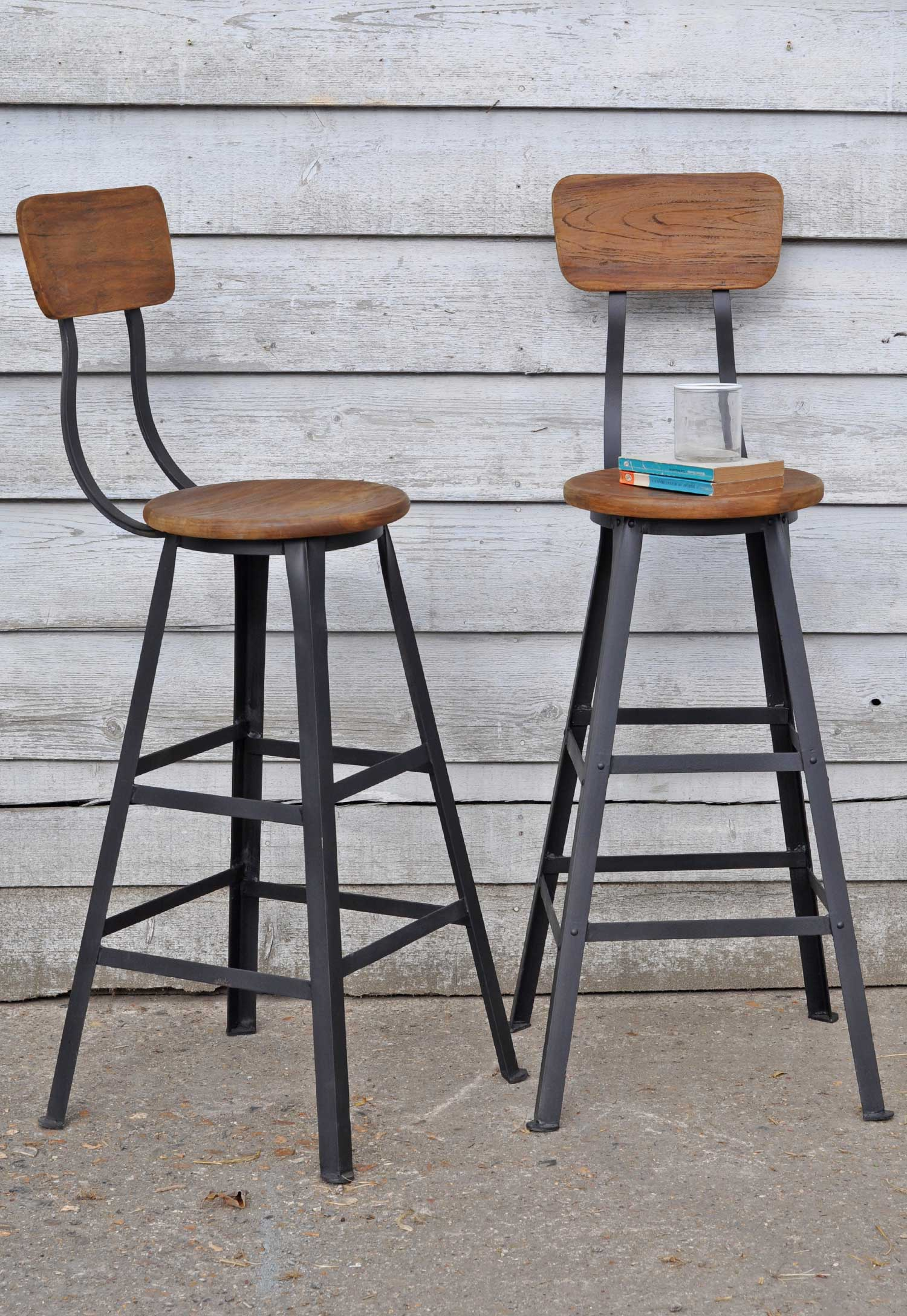 Industrial bar stool with wooden seat home barn vintage