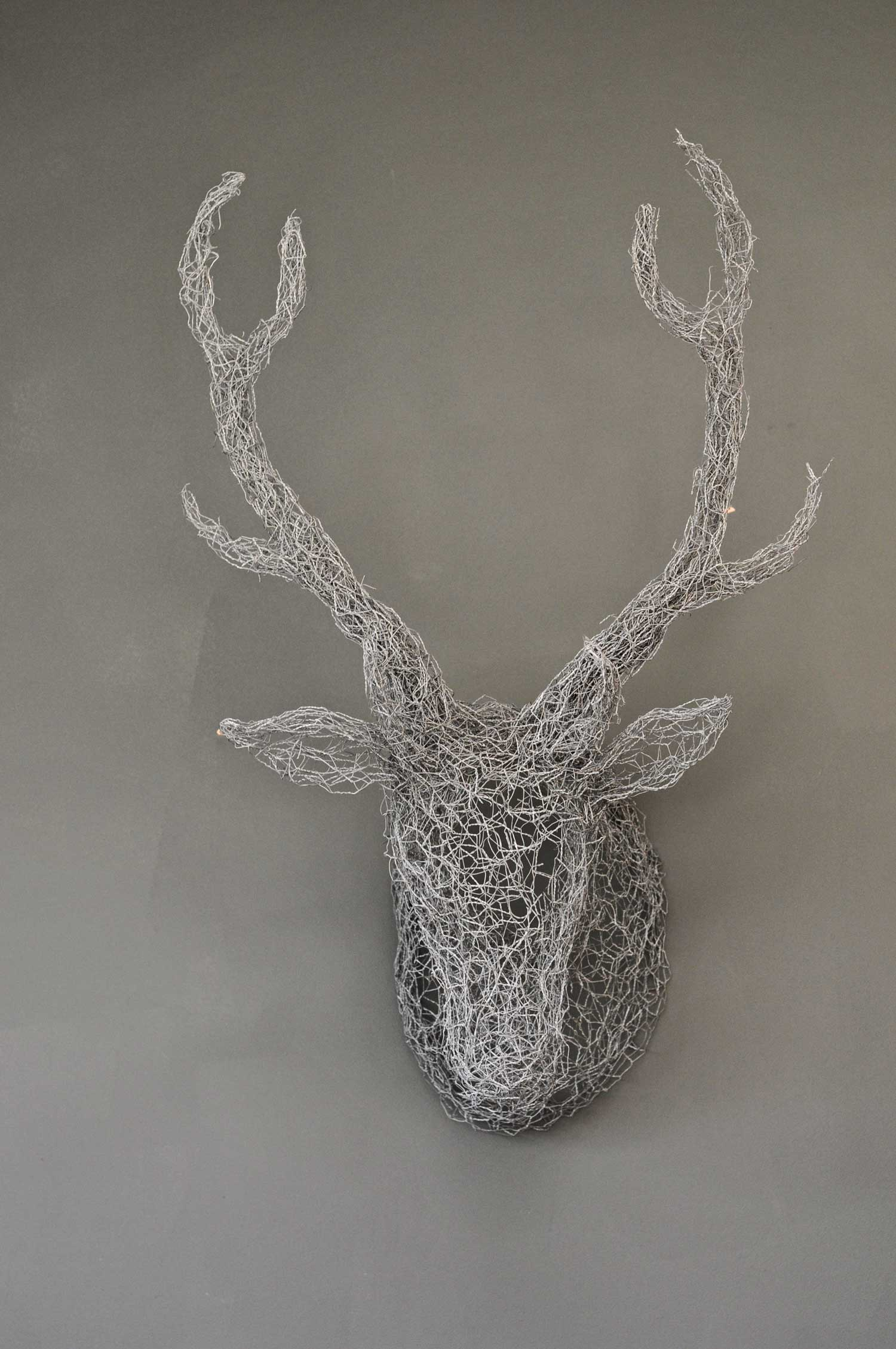 Wall Mounted Wire Mesh Stag Head Home Barn Vintage