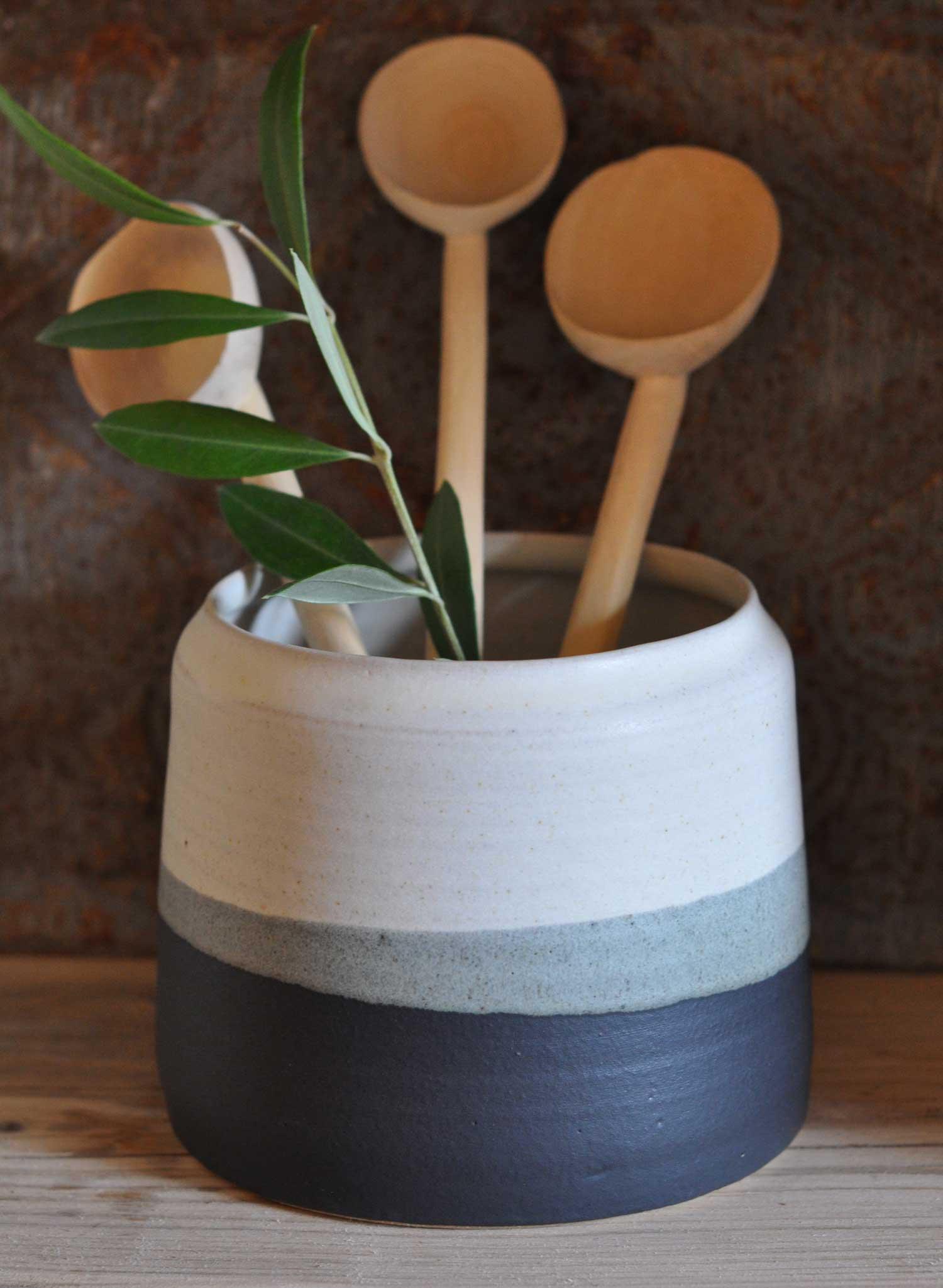 Hand-thrown utensil pot by Hilda Carr - Home Barn Vintage