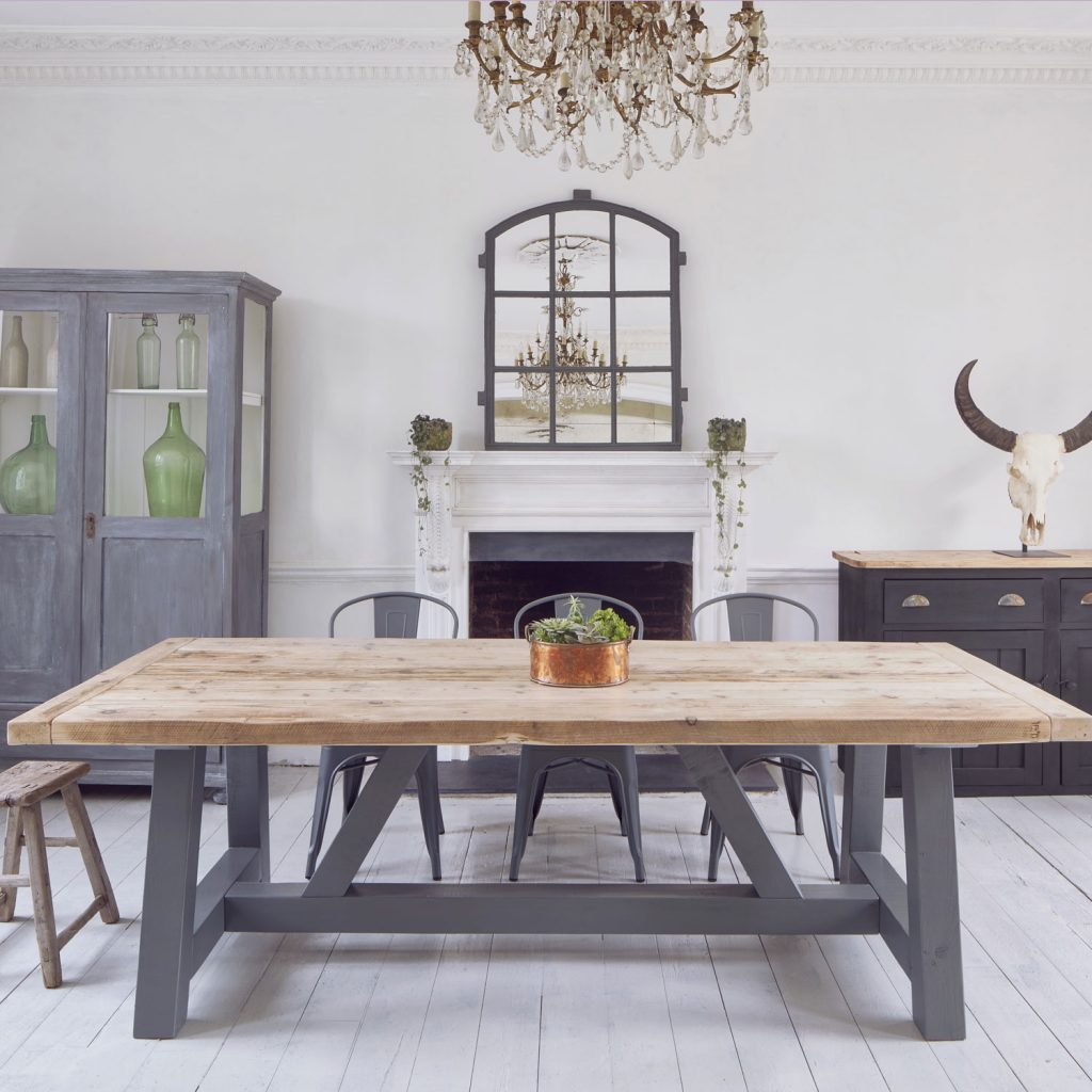 Salvaged timber industrial reclaimed dining table for Barn wood salvage companies