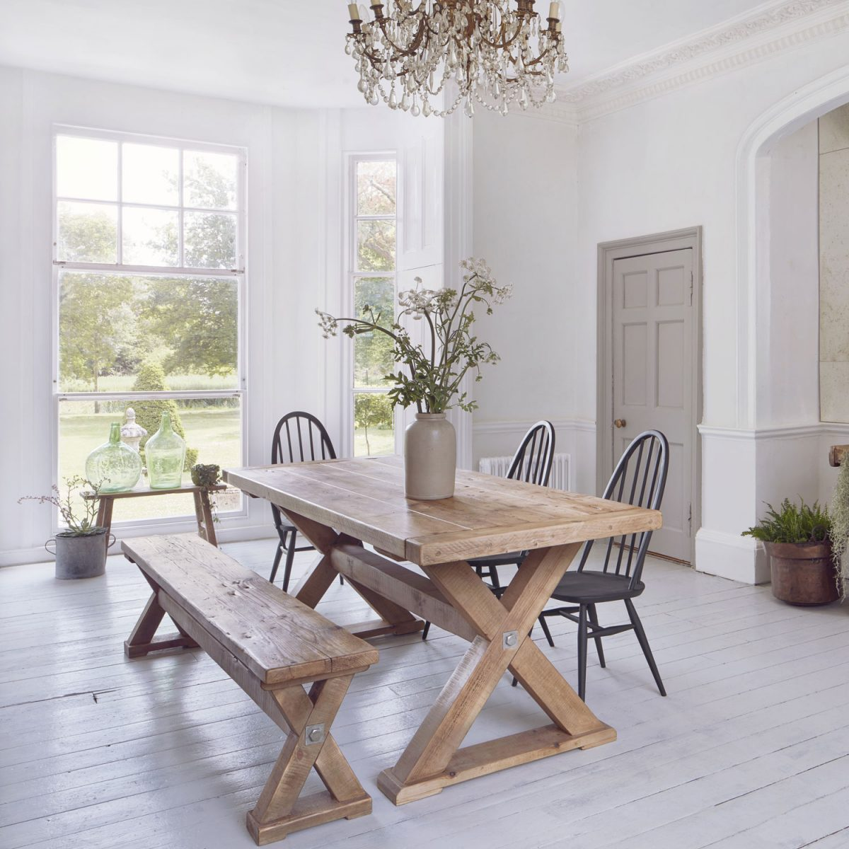 Reclaimed Wood Plank Trestle Dining Table