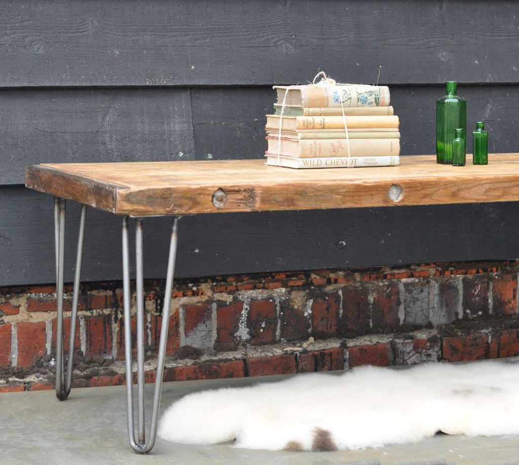 Industrial coffee table with hairpin legs and reclaimed for Vintage hairpin table legs